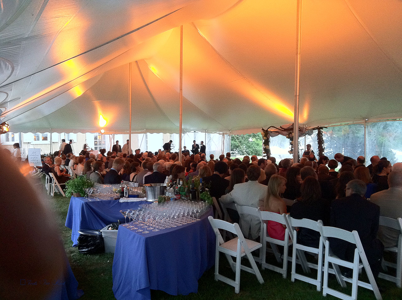 40' wide white wedding tent