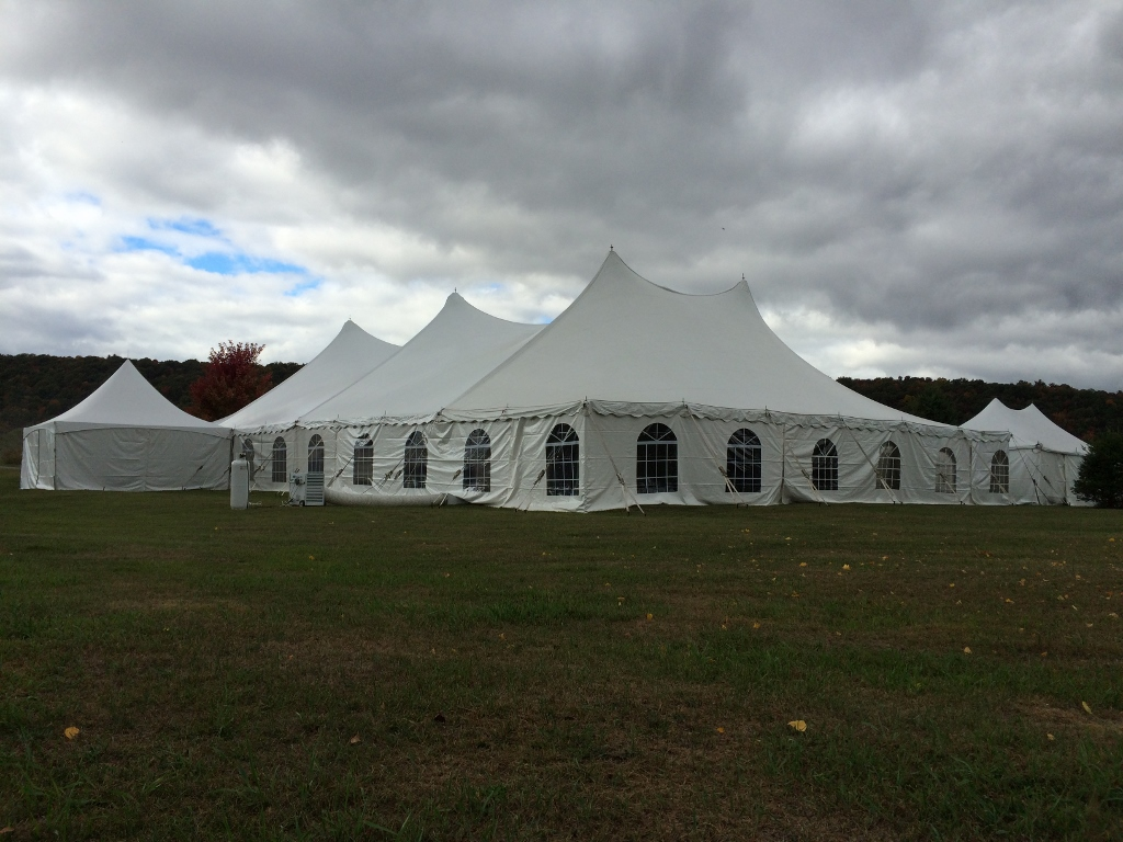 The design of pole tents makes them very popular for weddings.