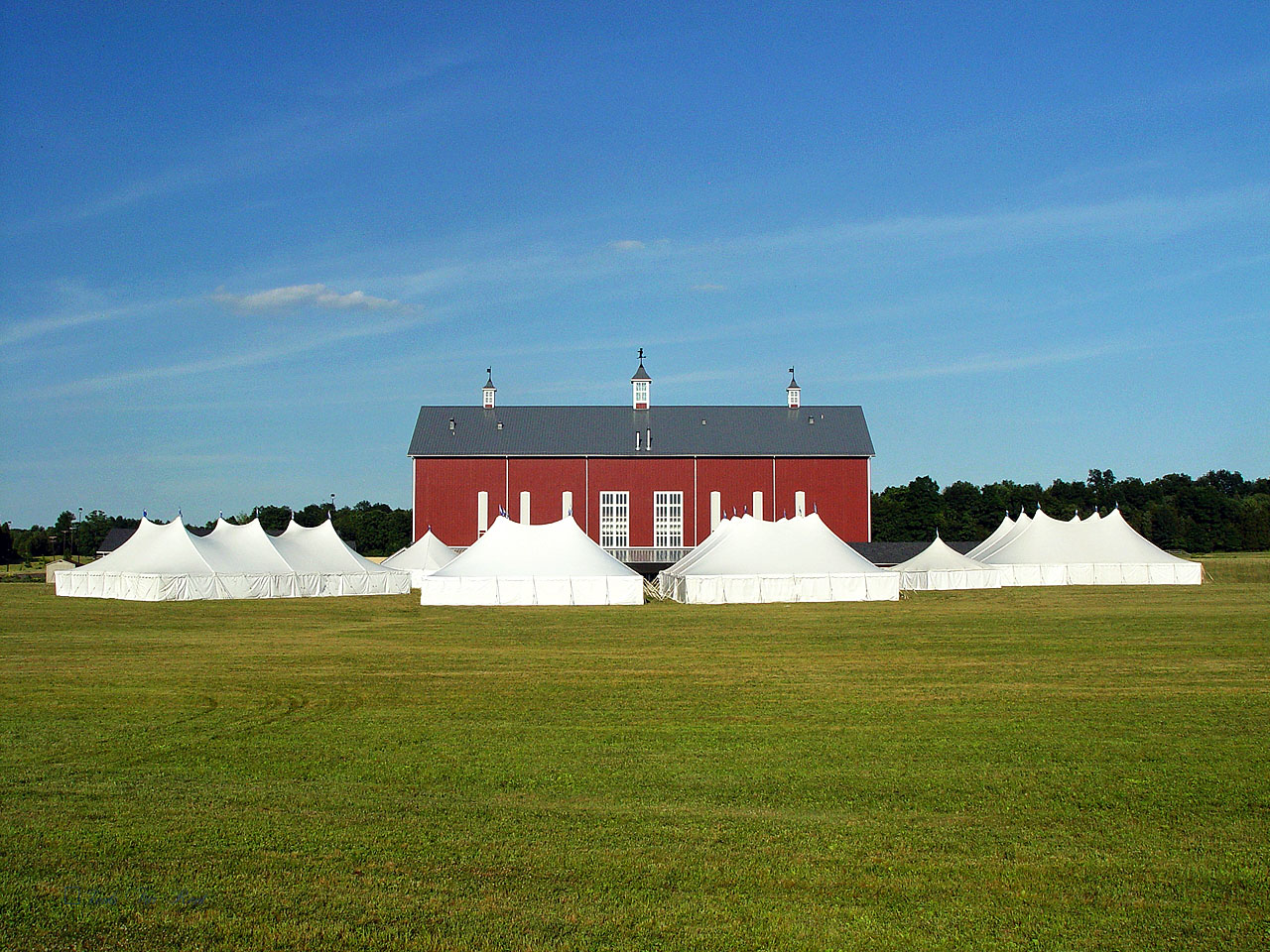 Tents with white sidewalls