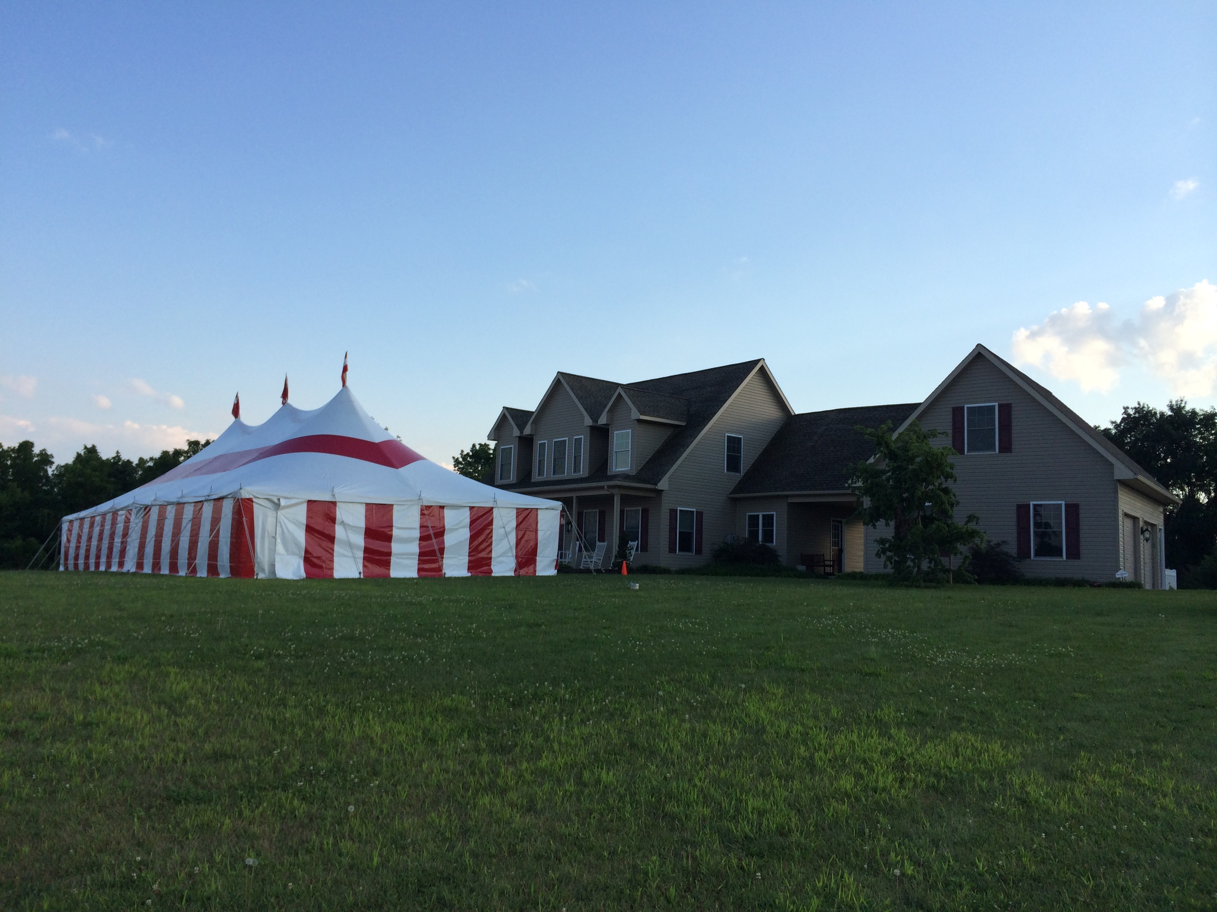 Tent with matching red and white striped sidewalls