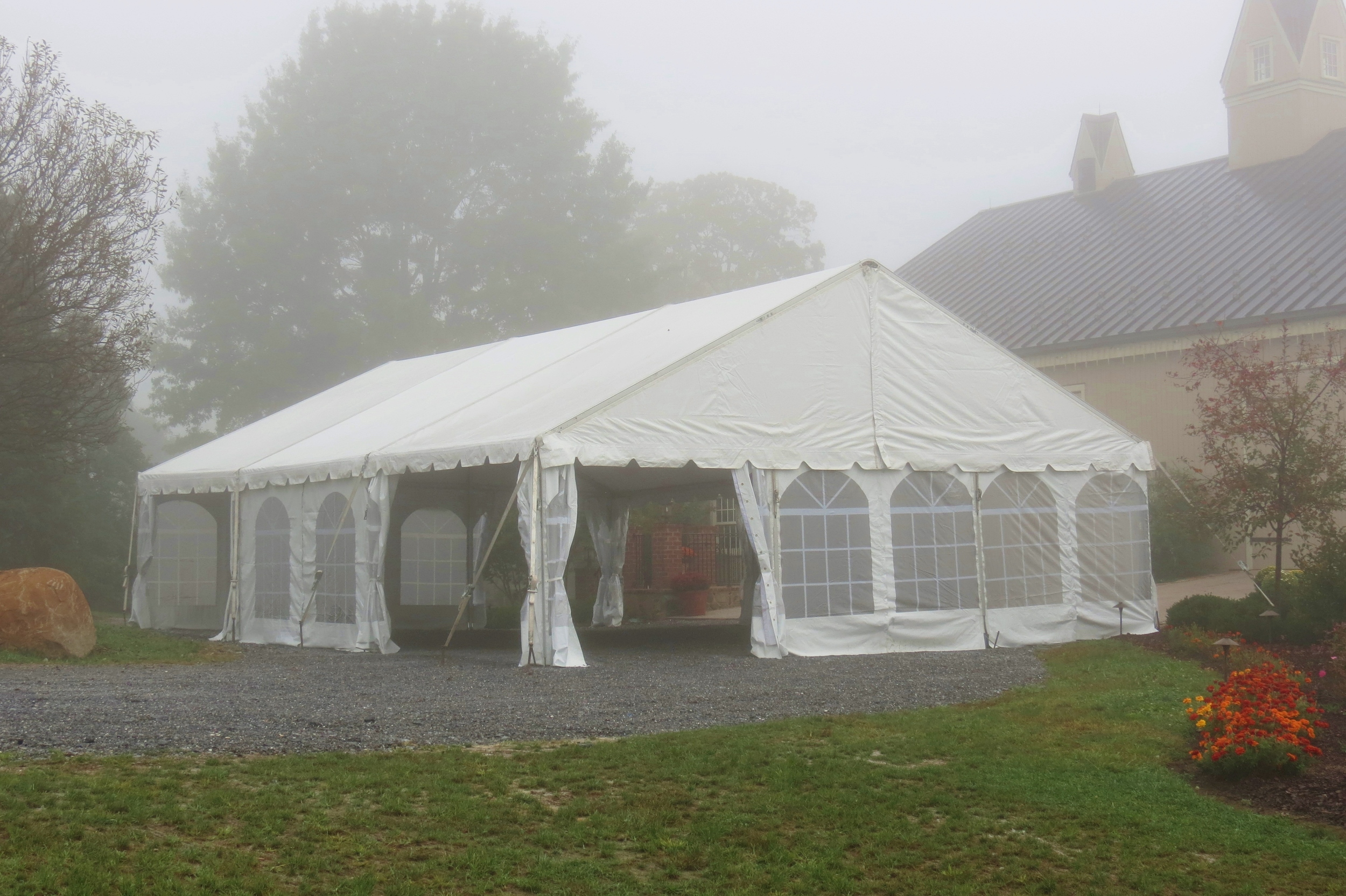 30x45 white frame tent with kedered cathedral window sidewalls