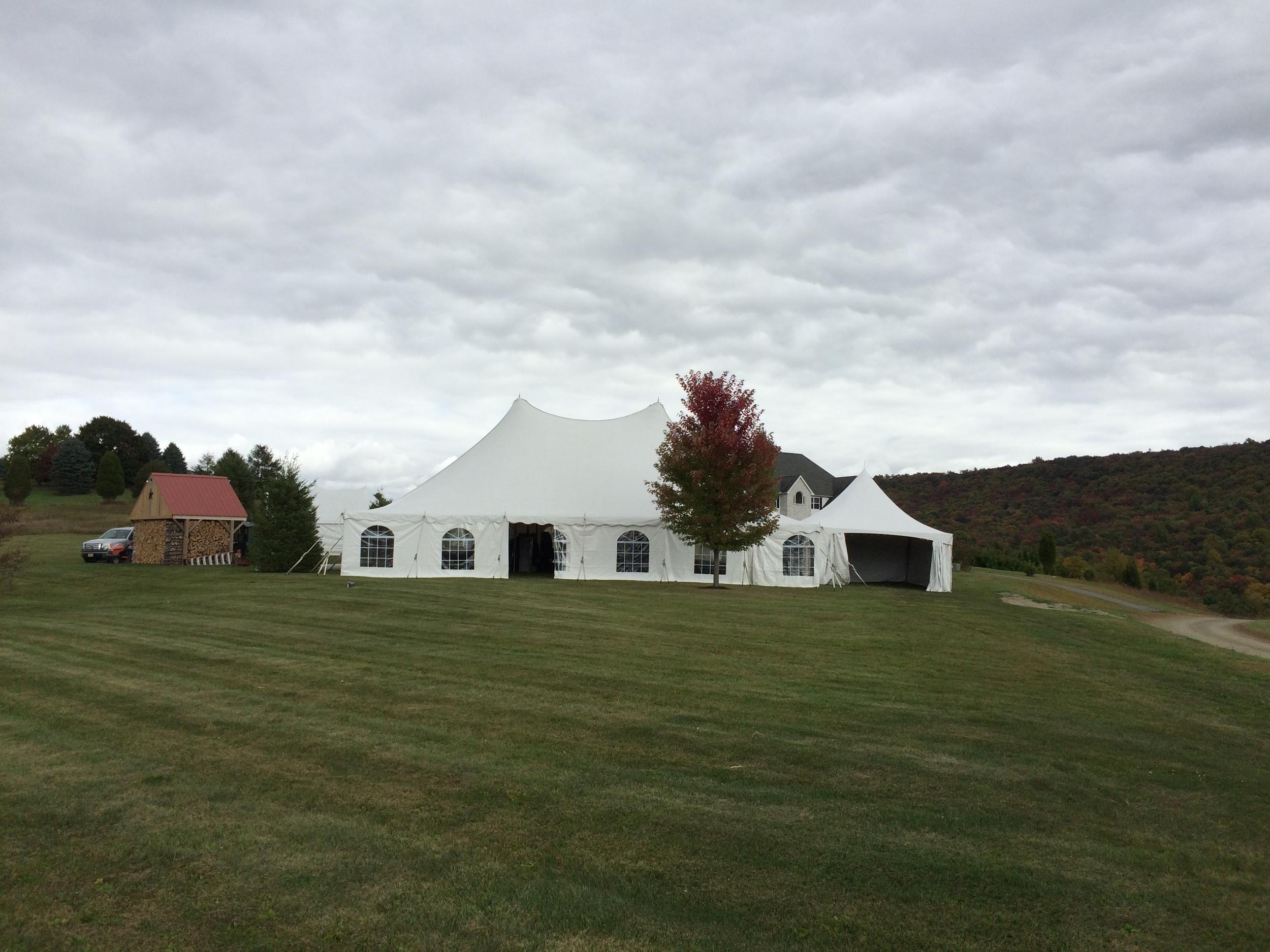 Wedding tent with church window style sidewalls