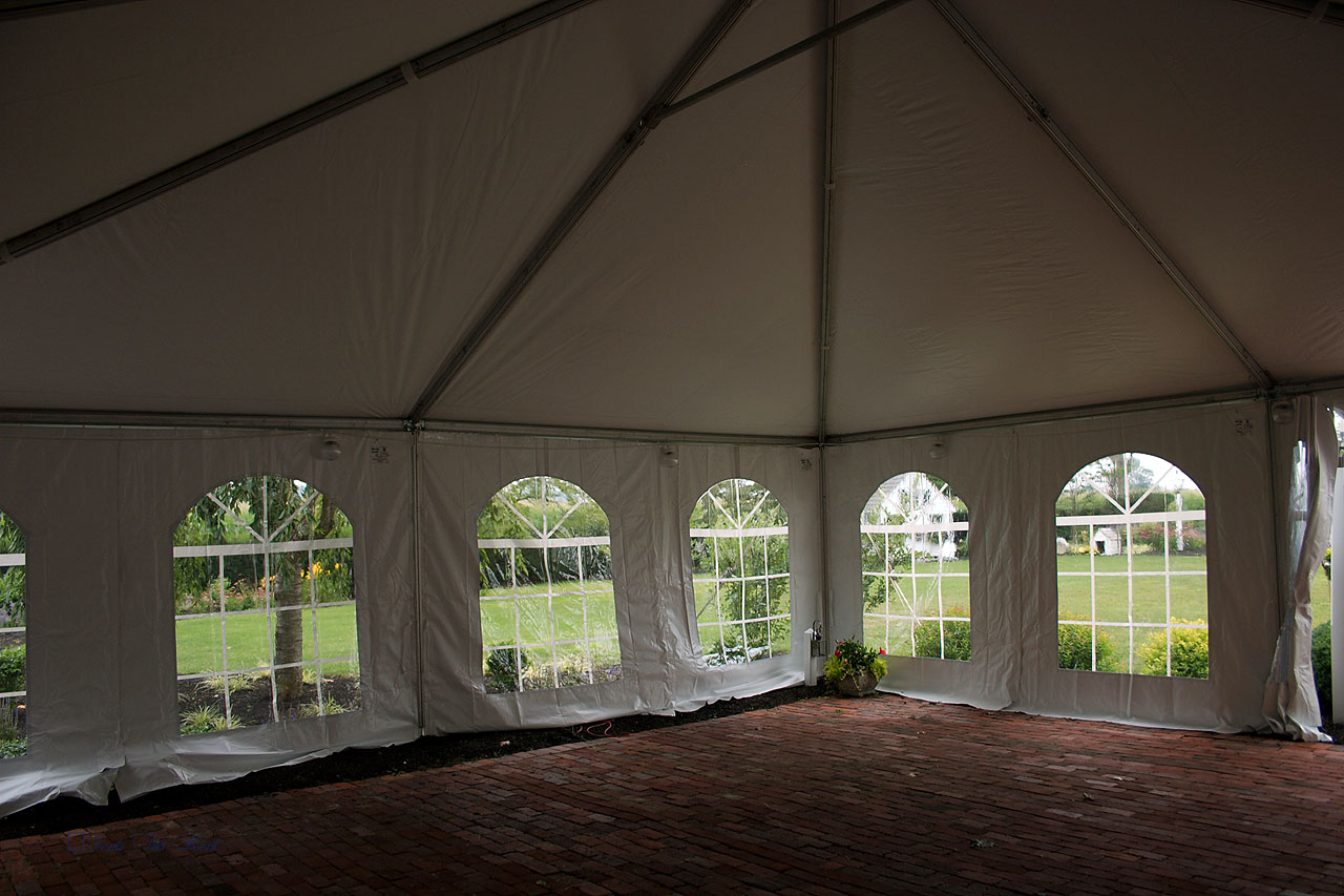 30x30 frame tent with kedered cathedral window walls