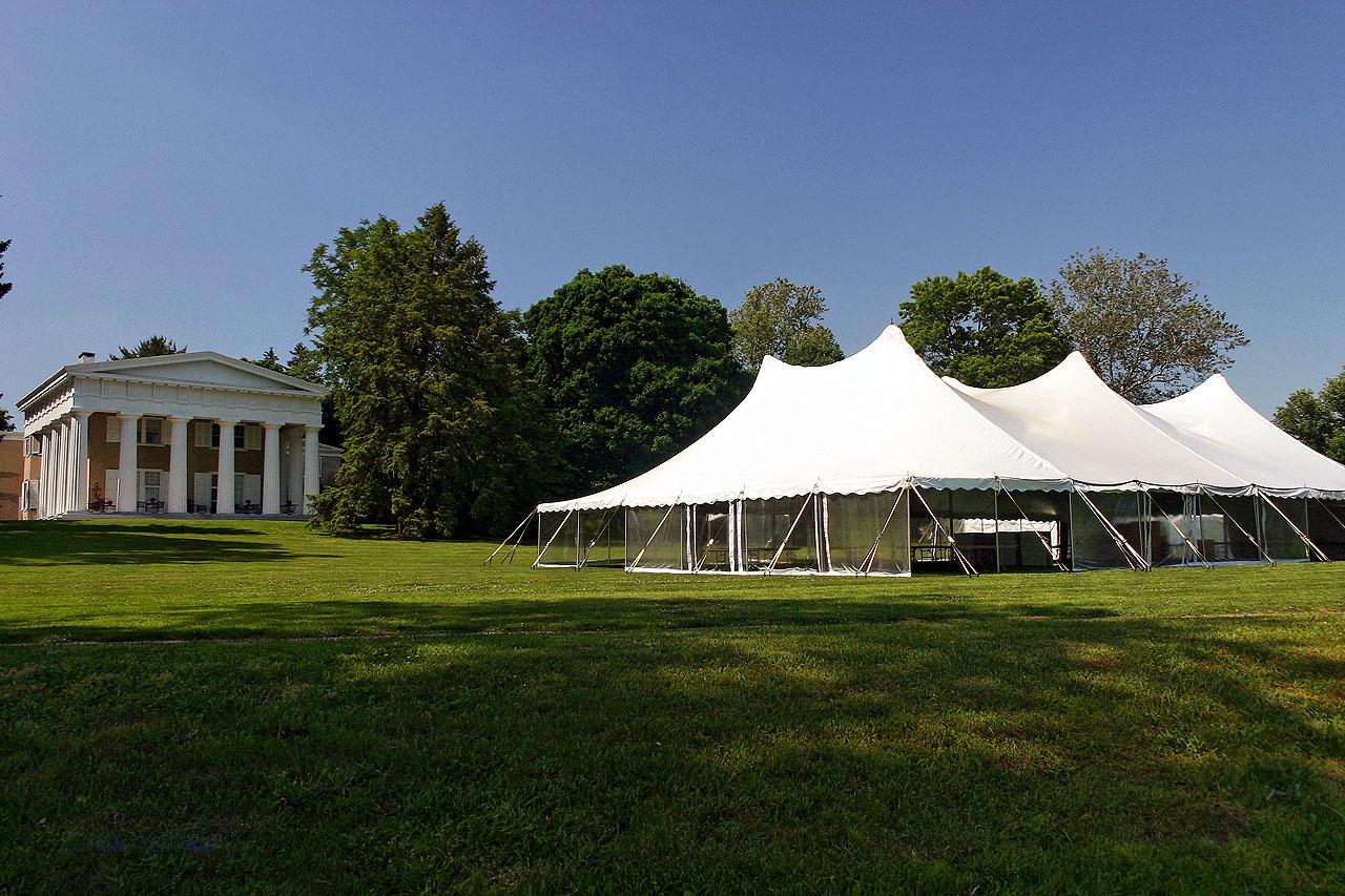 Wedding tent with clear sidewalls