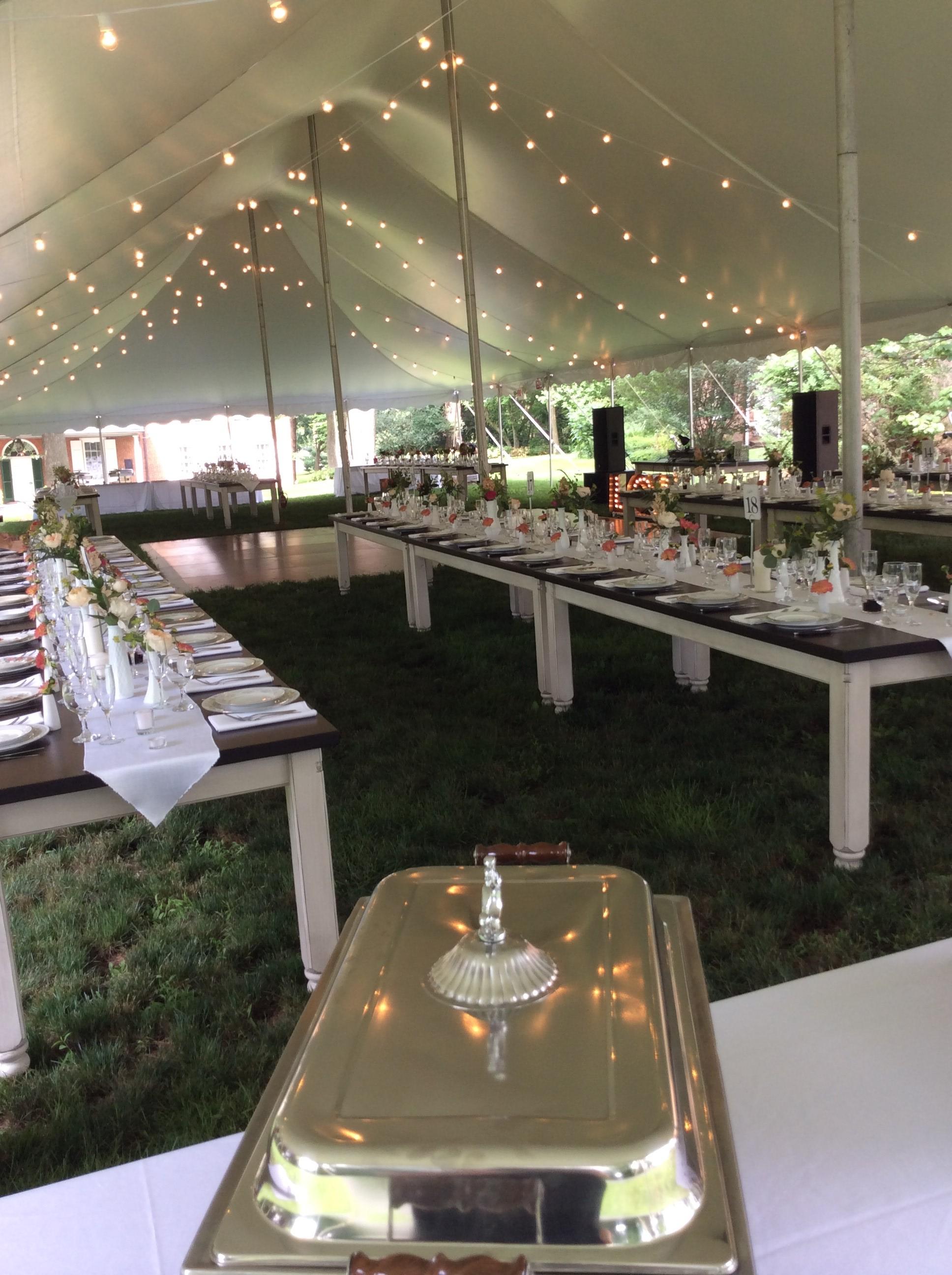 Wedding reception with farm tables