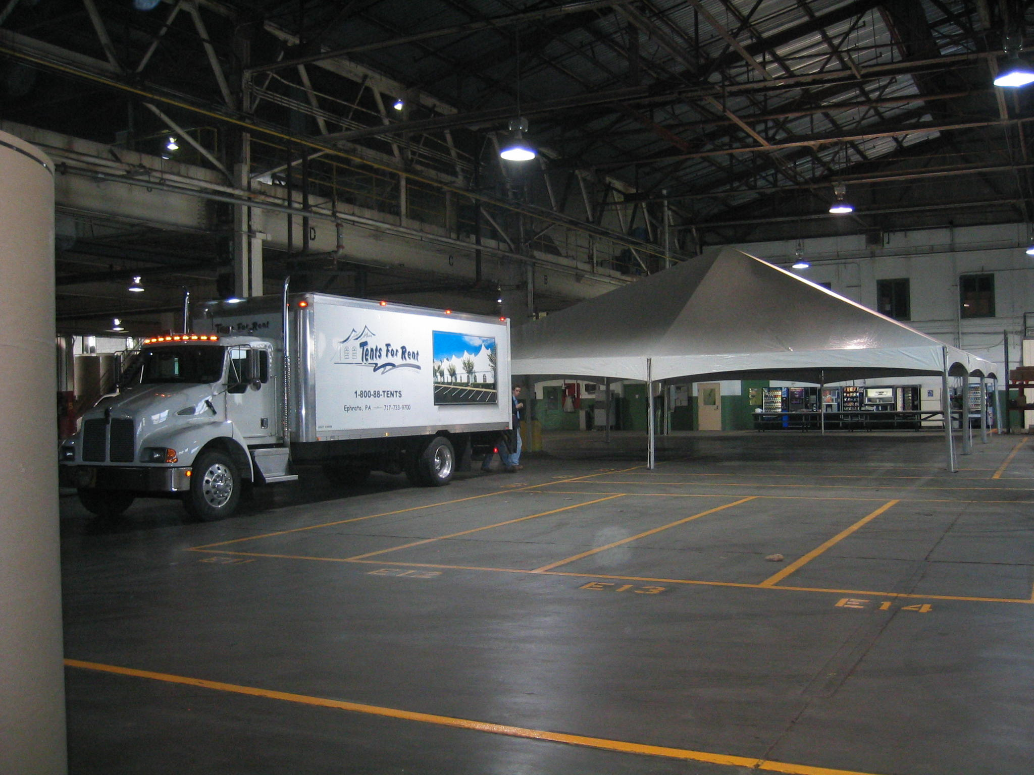 Tent inside a warehouse