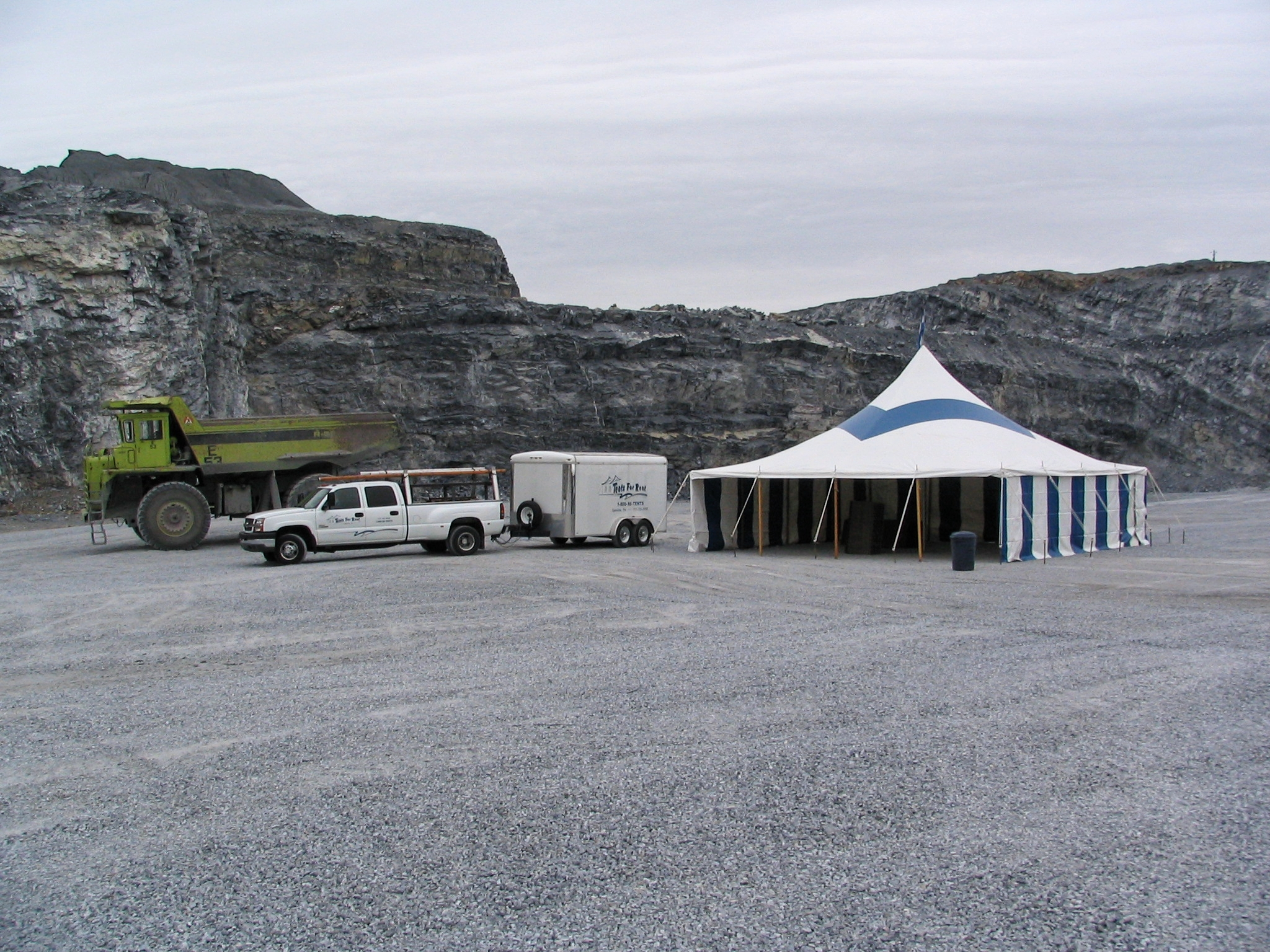 Tent in the bottom of a stone quarry