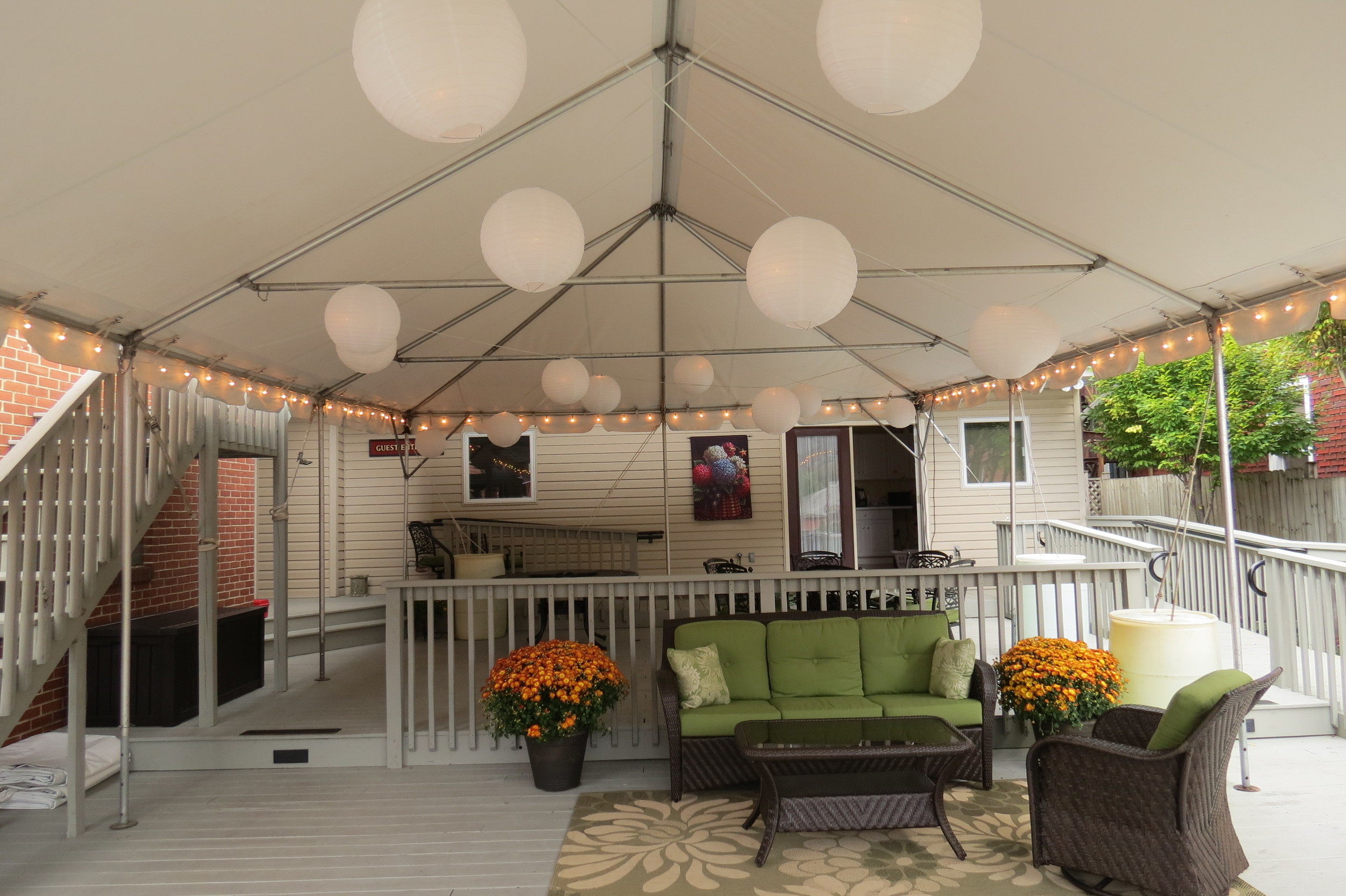 Tent on a multi-level patio
