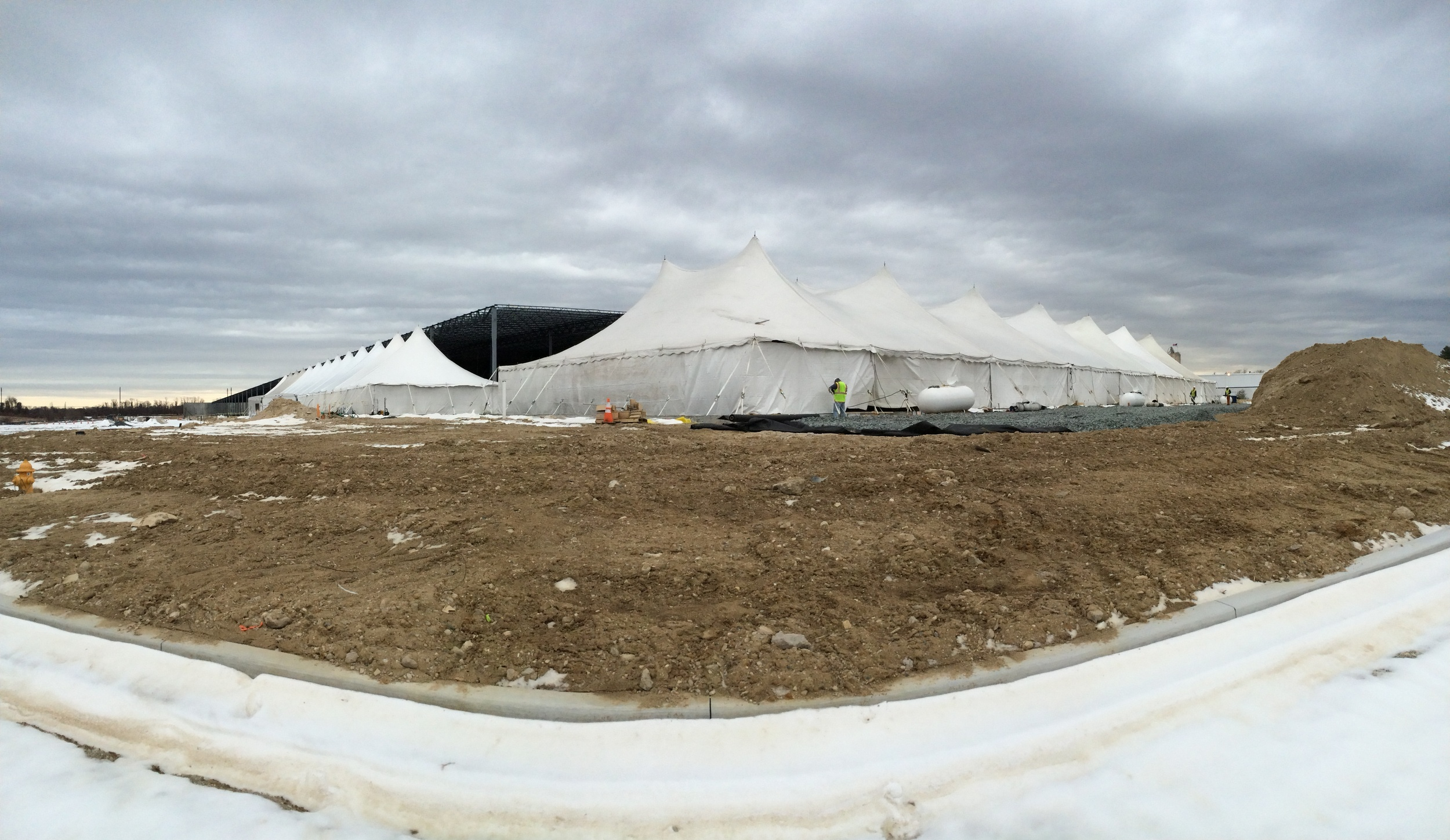 Commercial building construction tent