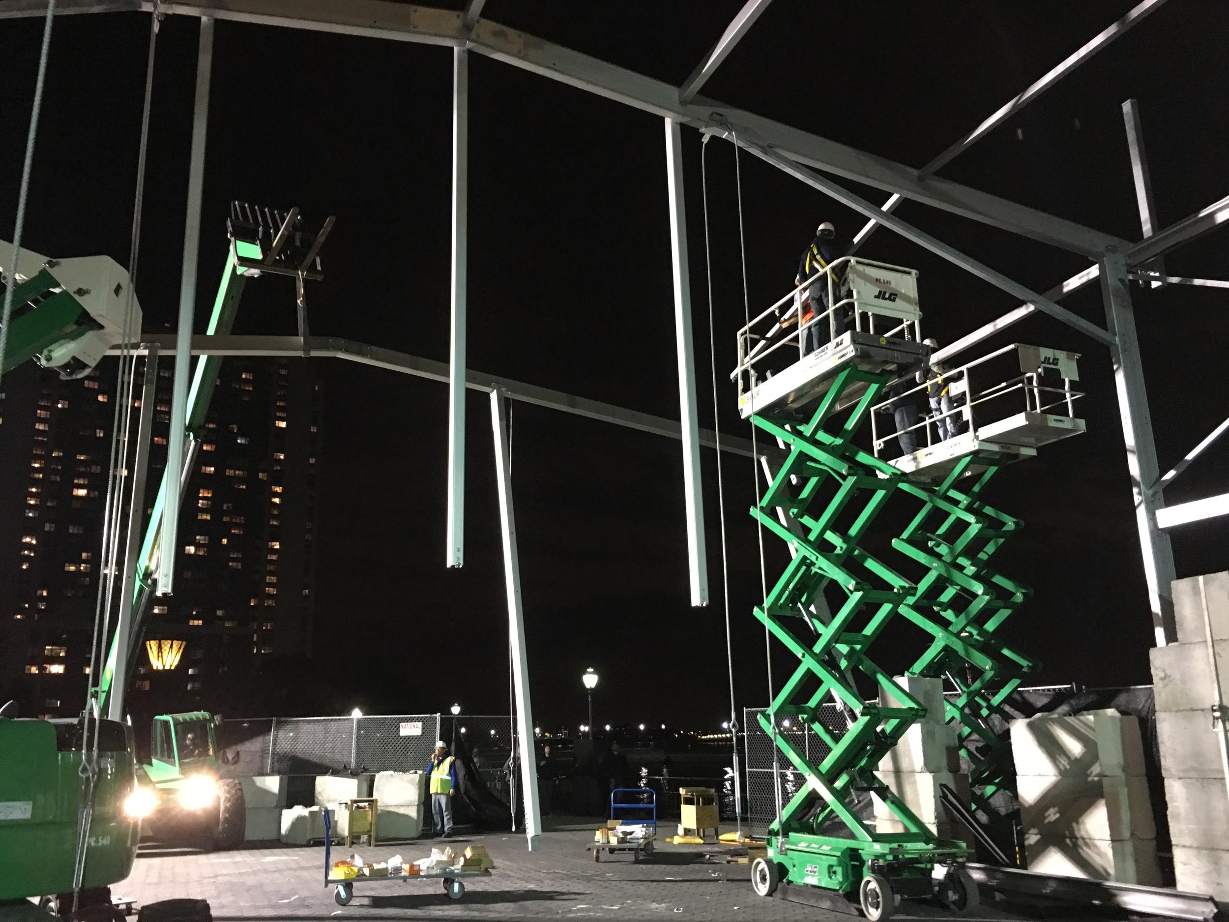 Working after dark to complete installation