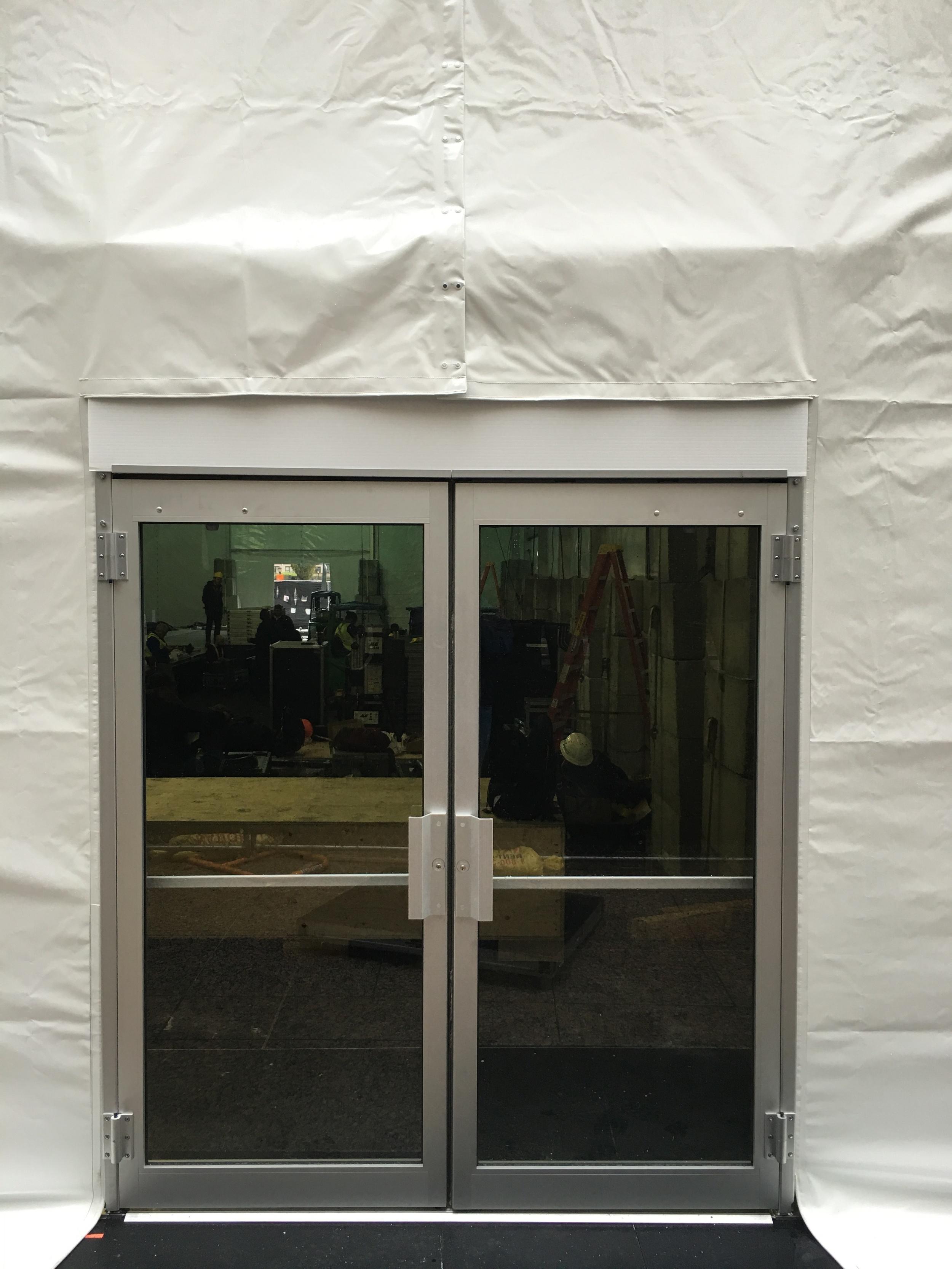 One of three tent exit doors