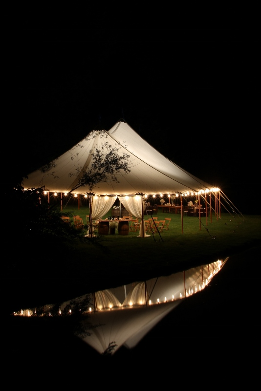 Sheer top tent at night
