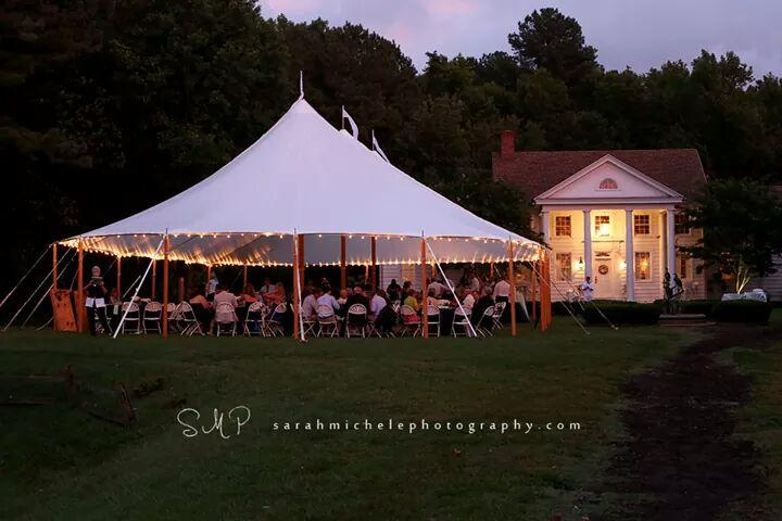 Evening wedding in a sailcloth tent