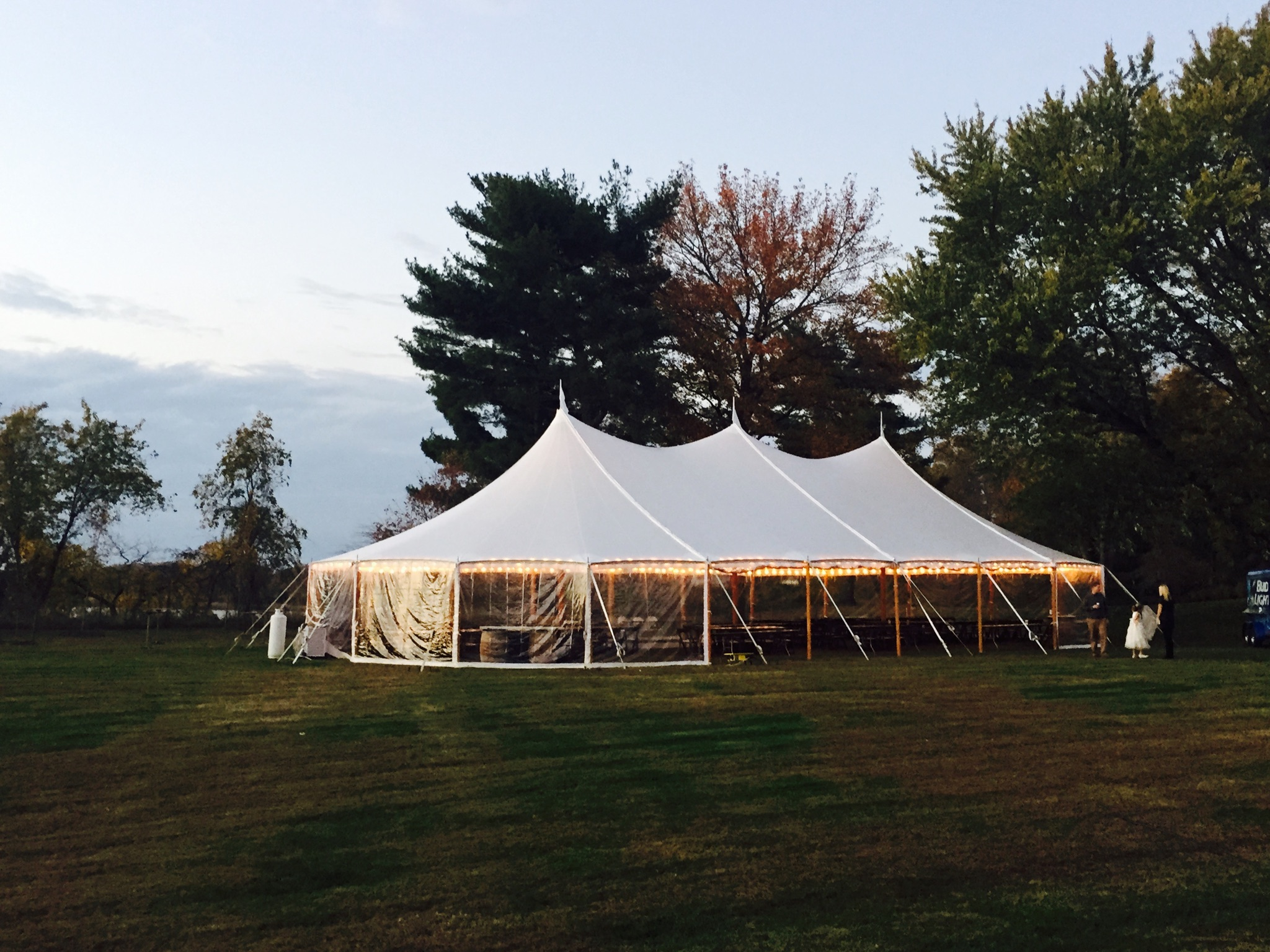 Sailcloth tent with clear walls