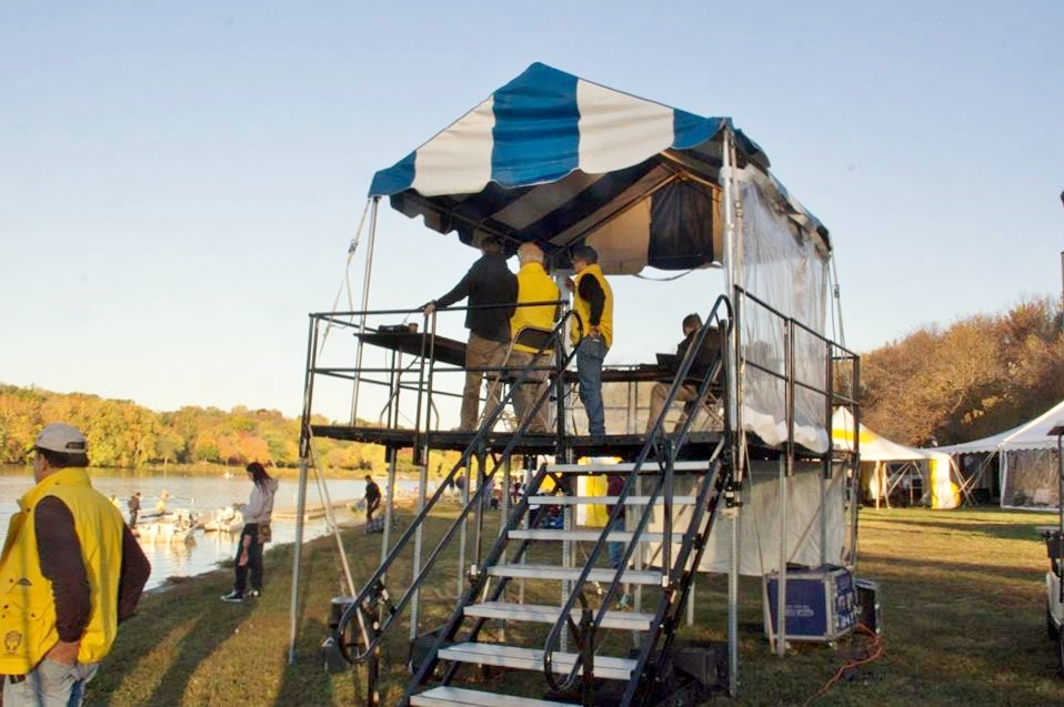 Tent on raised platform