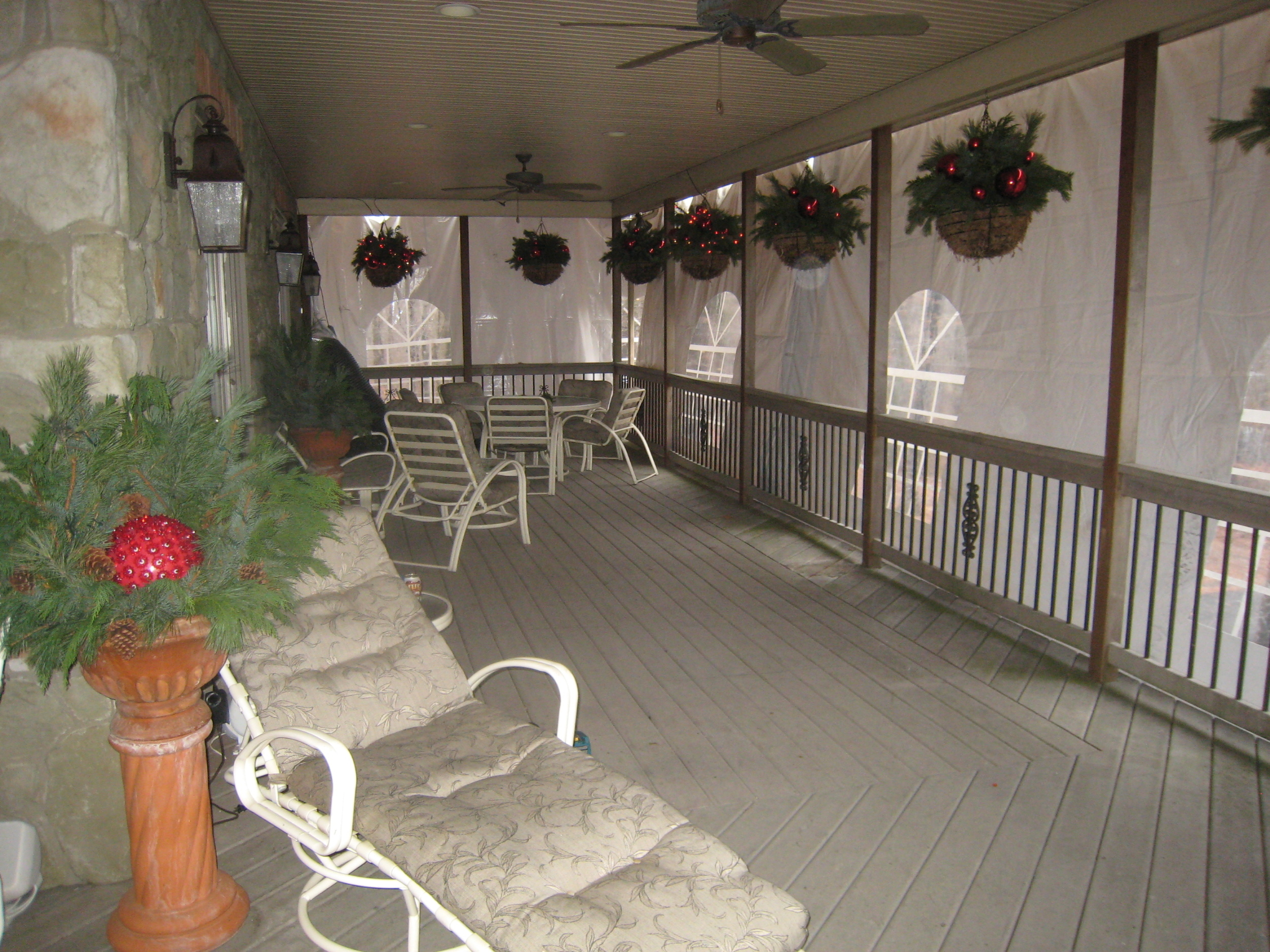 Patio enclosed with tent walls