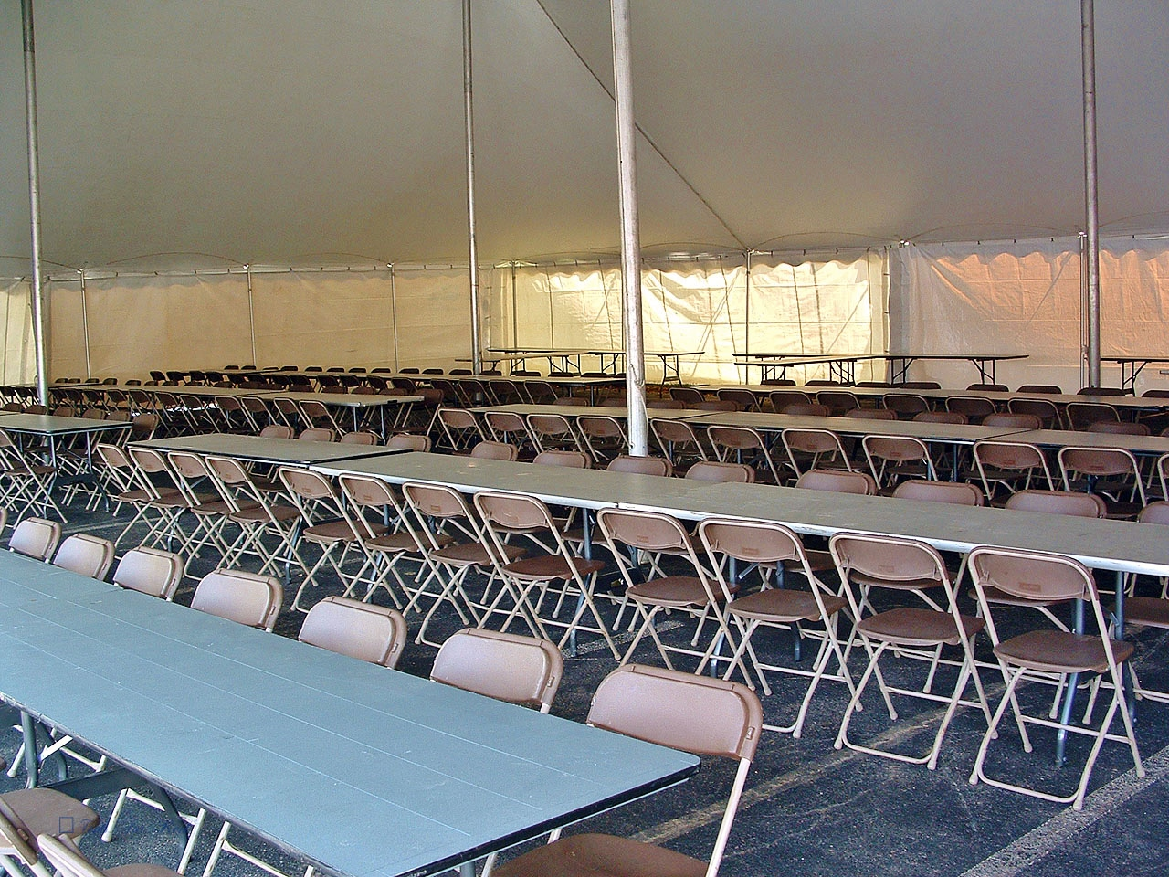 Tables and chairs for disaster response dining hall