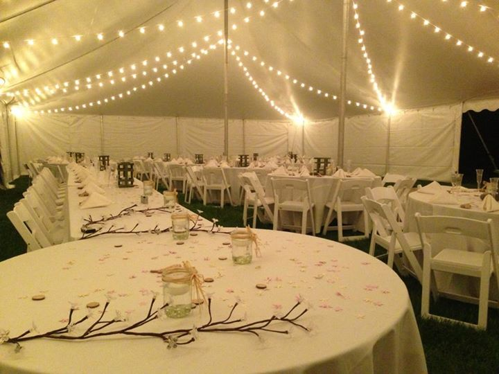 Wedding tent cafe lighting