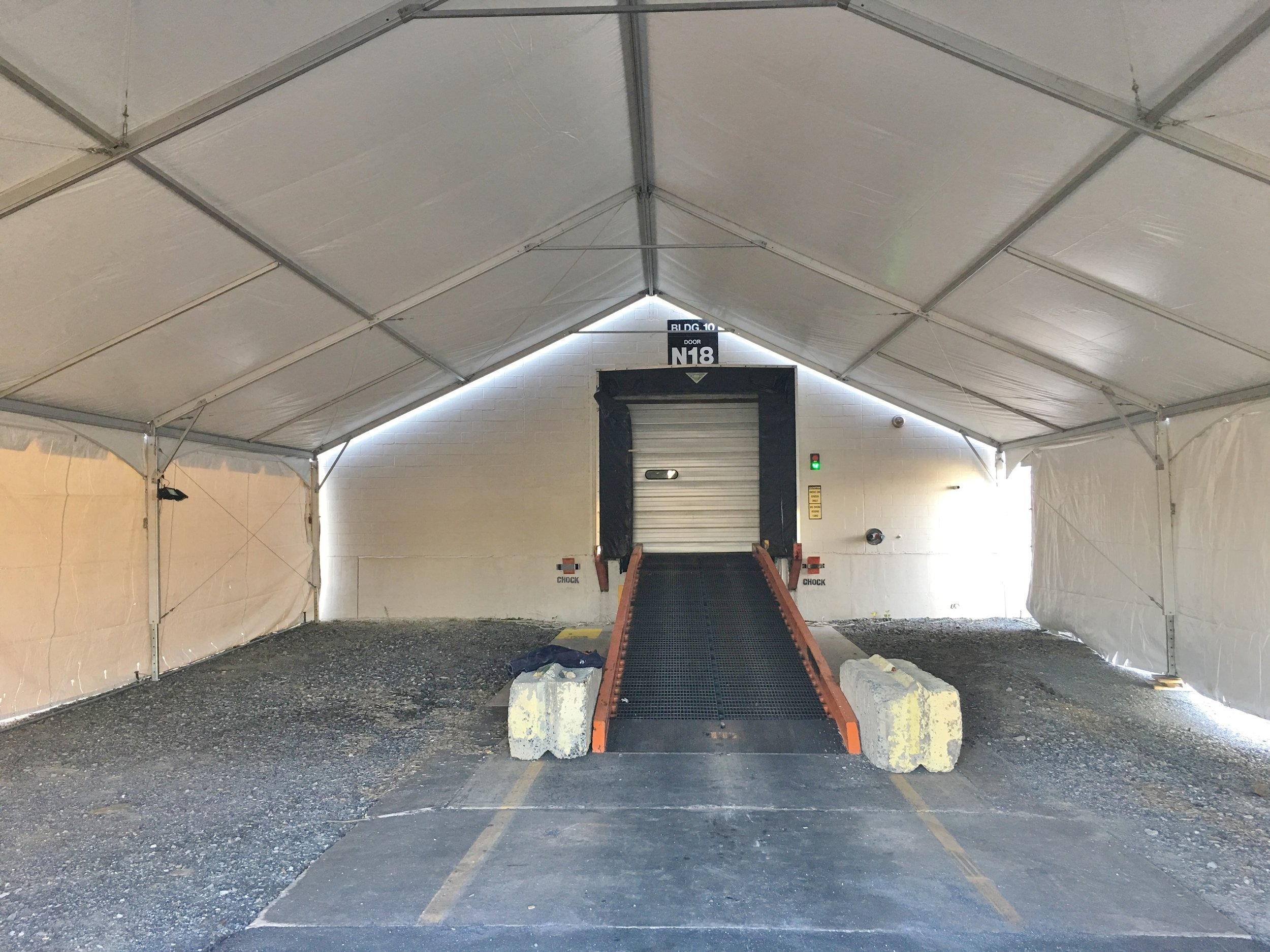 Temporary winter forklift ramp cover used during construction