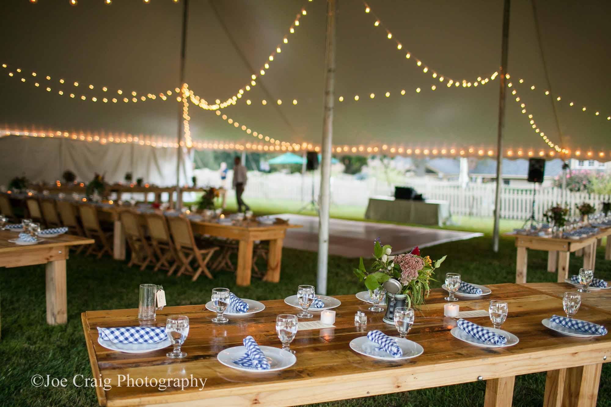 Tent, table, and lighting rentals in Maheim
