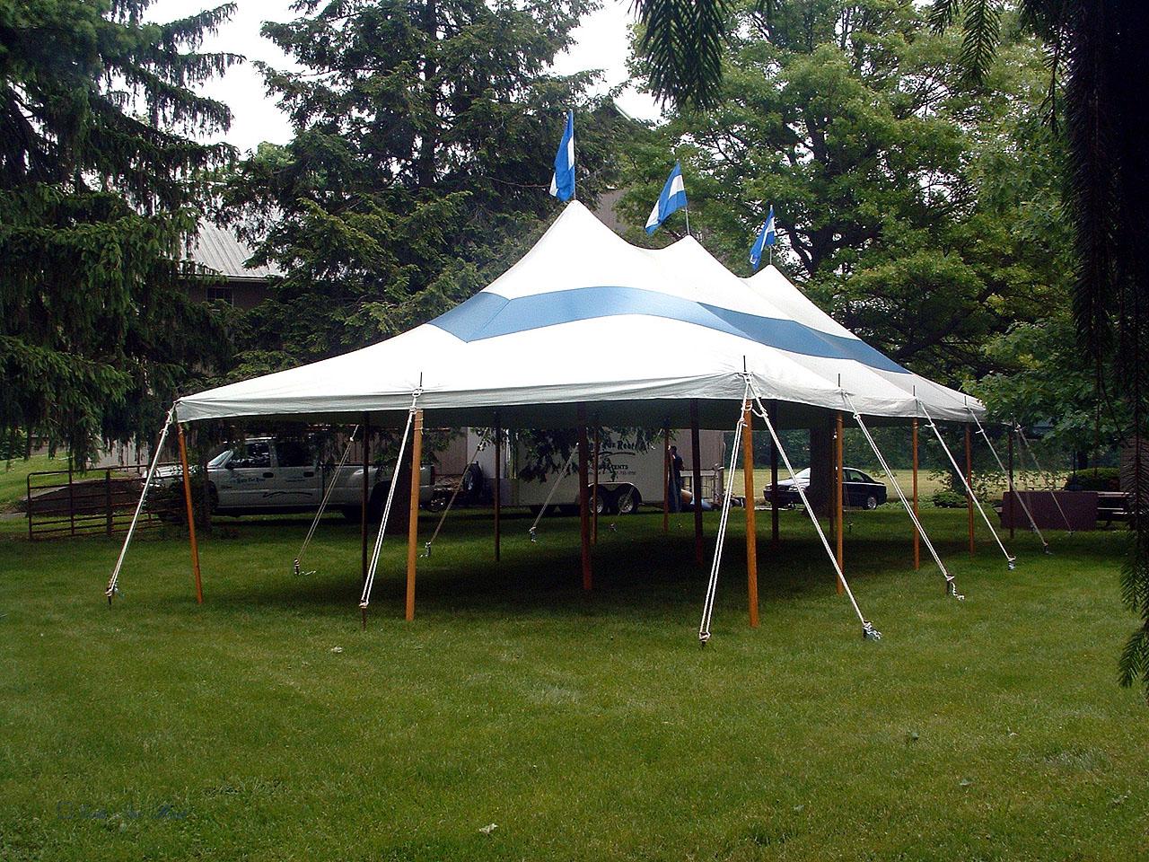 Blue grad party tent