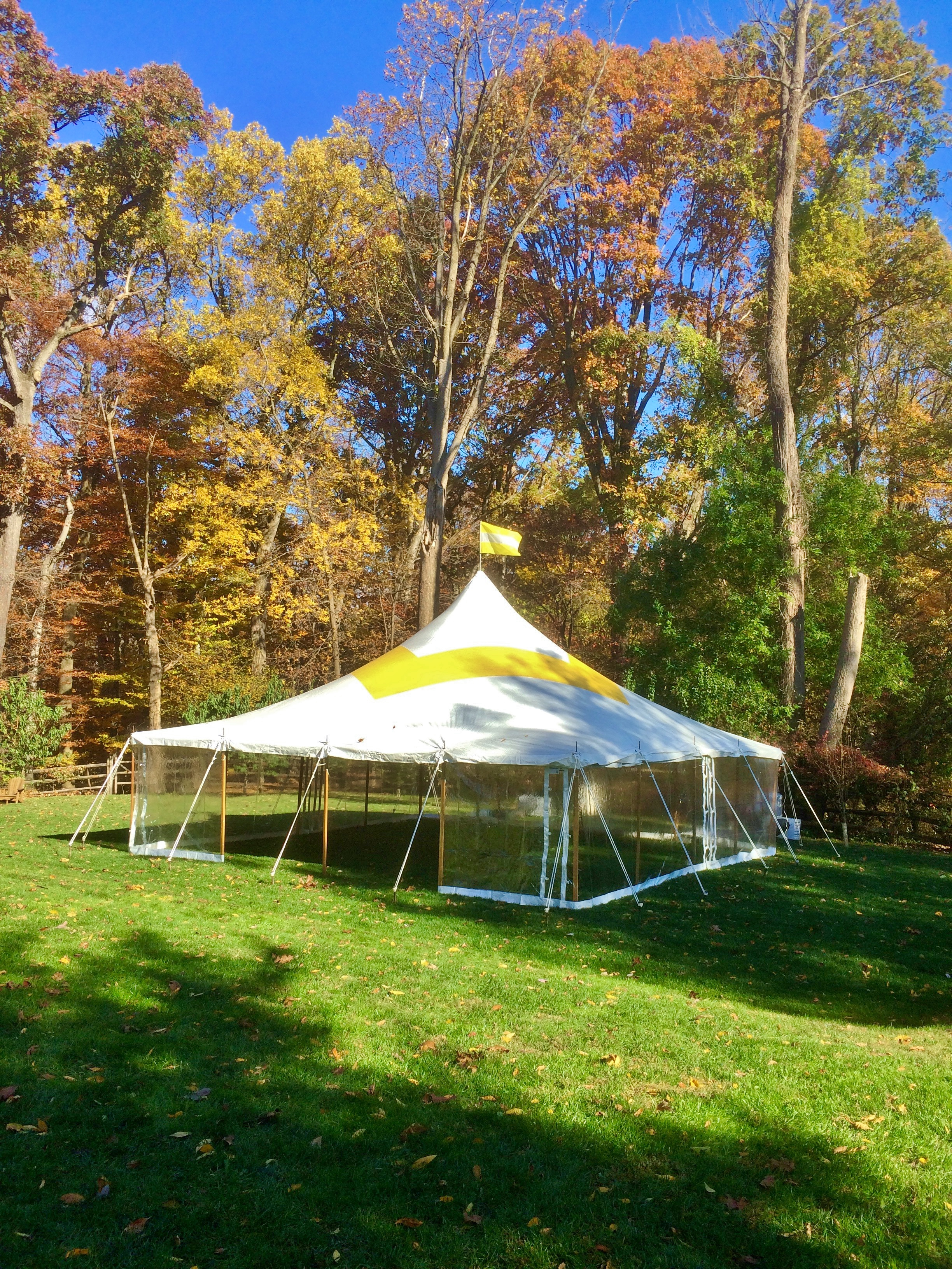 30x30 yellow and white grad tent