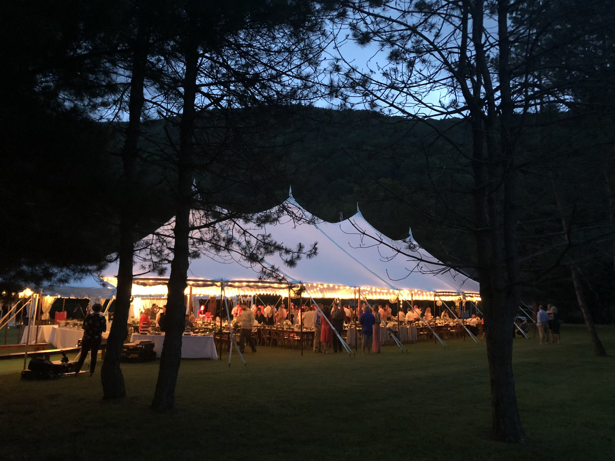 Outdoor tent wedding in the trees