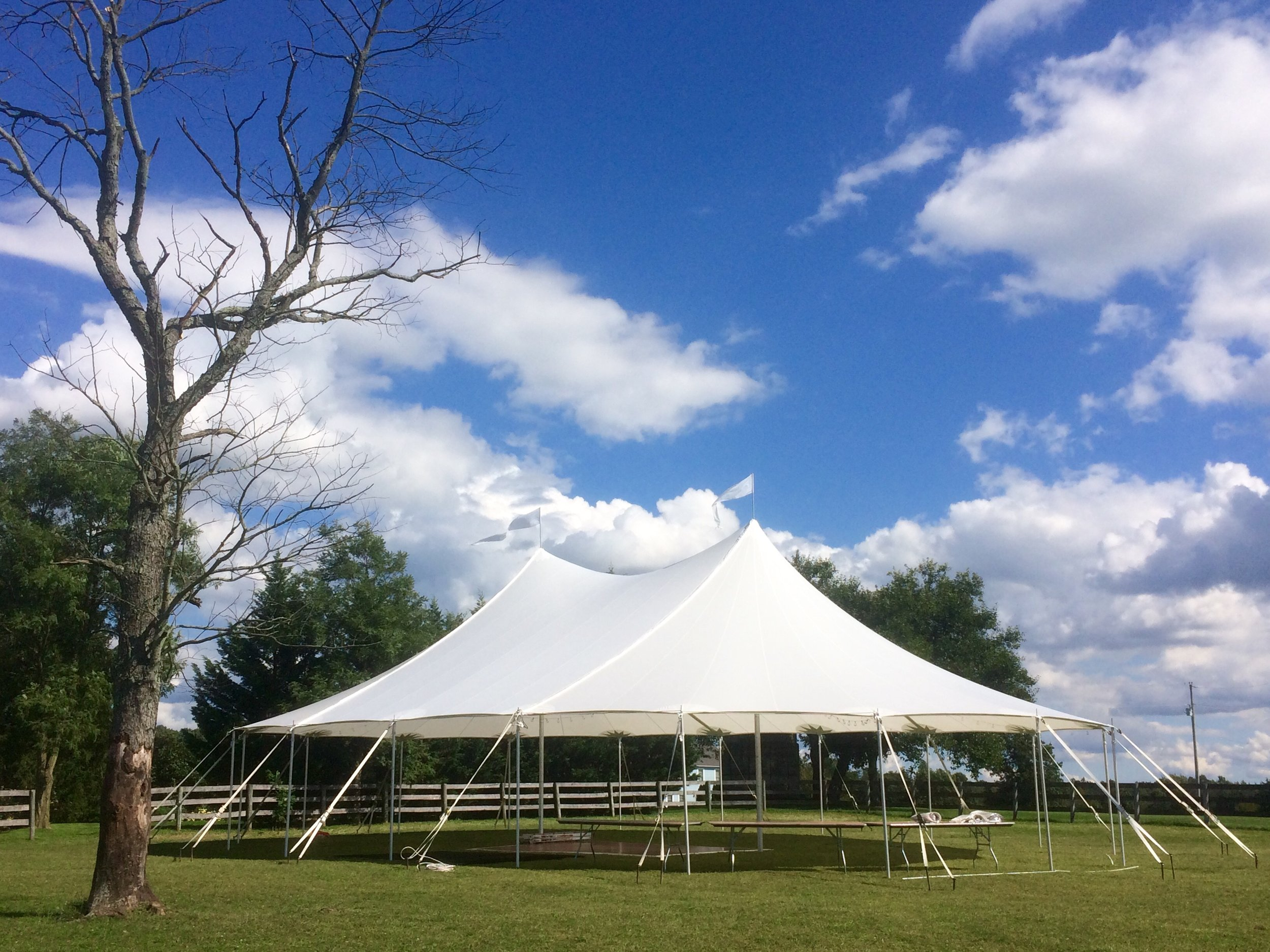 Outdoor wedding sailcloth tent
