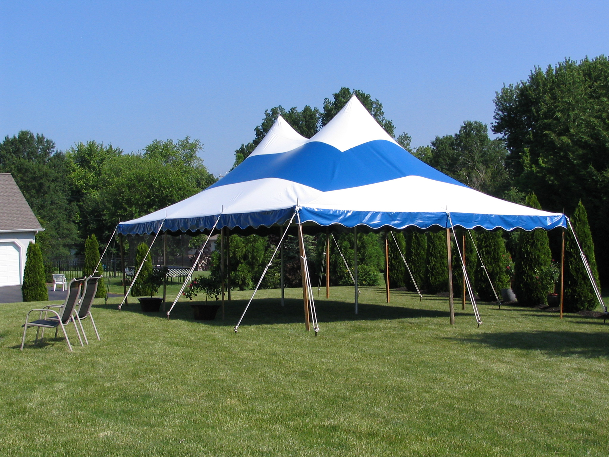 Backyard striped party tent