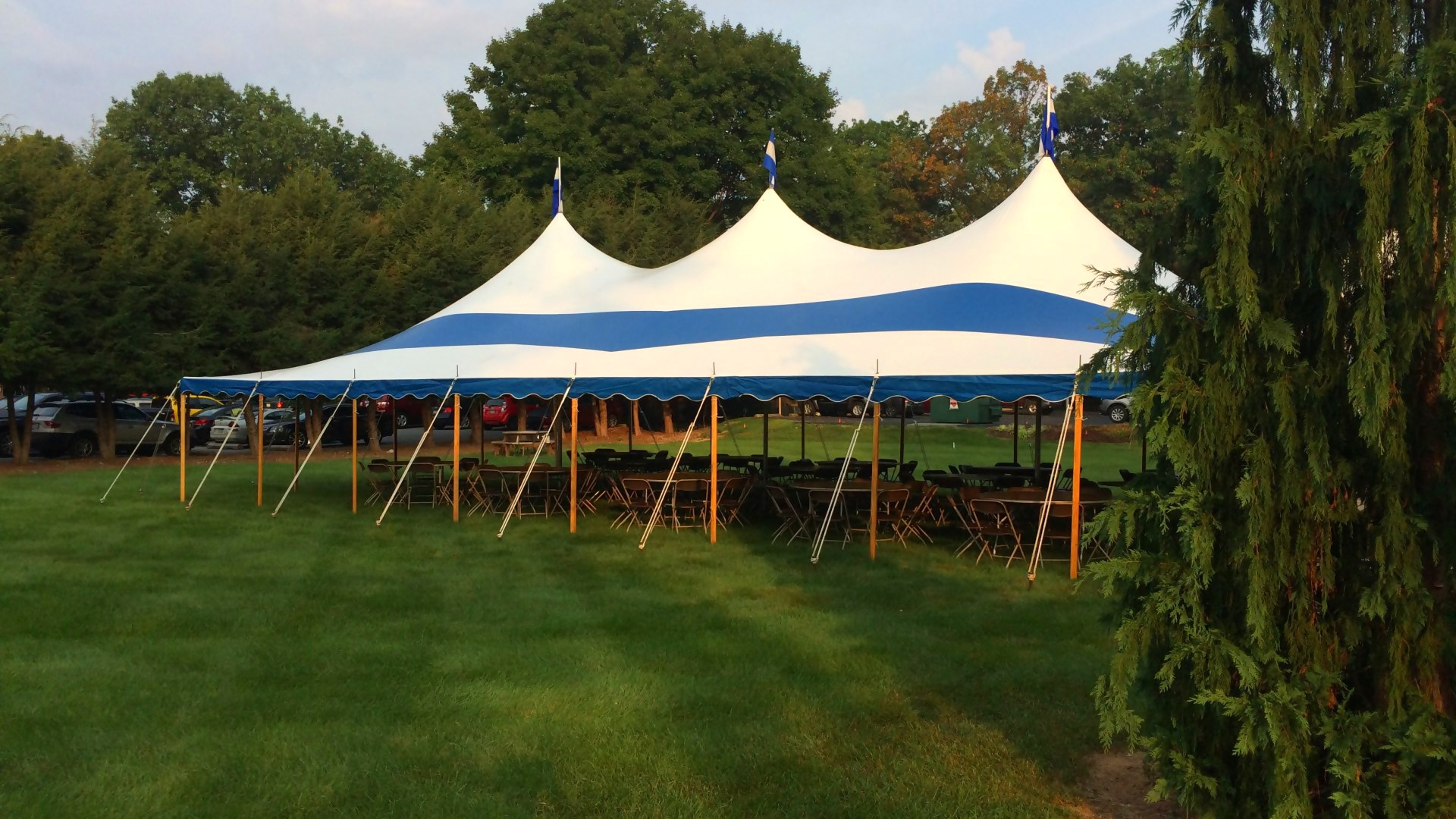 Large, blue party tent in State College, PA
