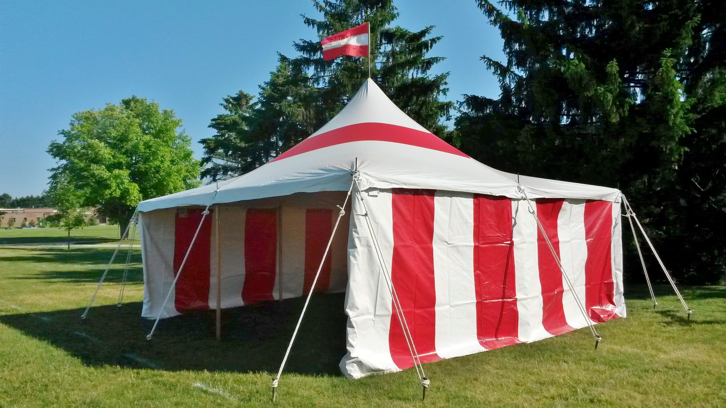 Red and white party tent in Pittsburgh, PA