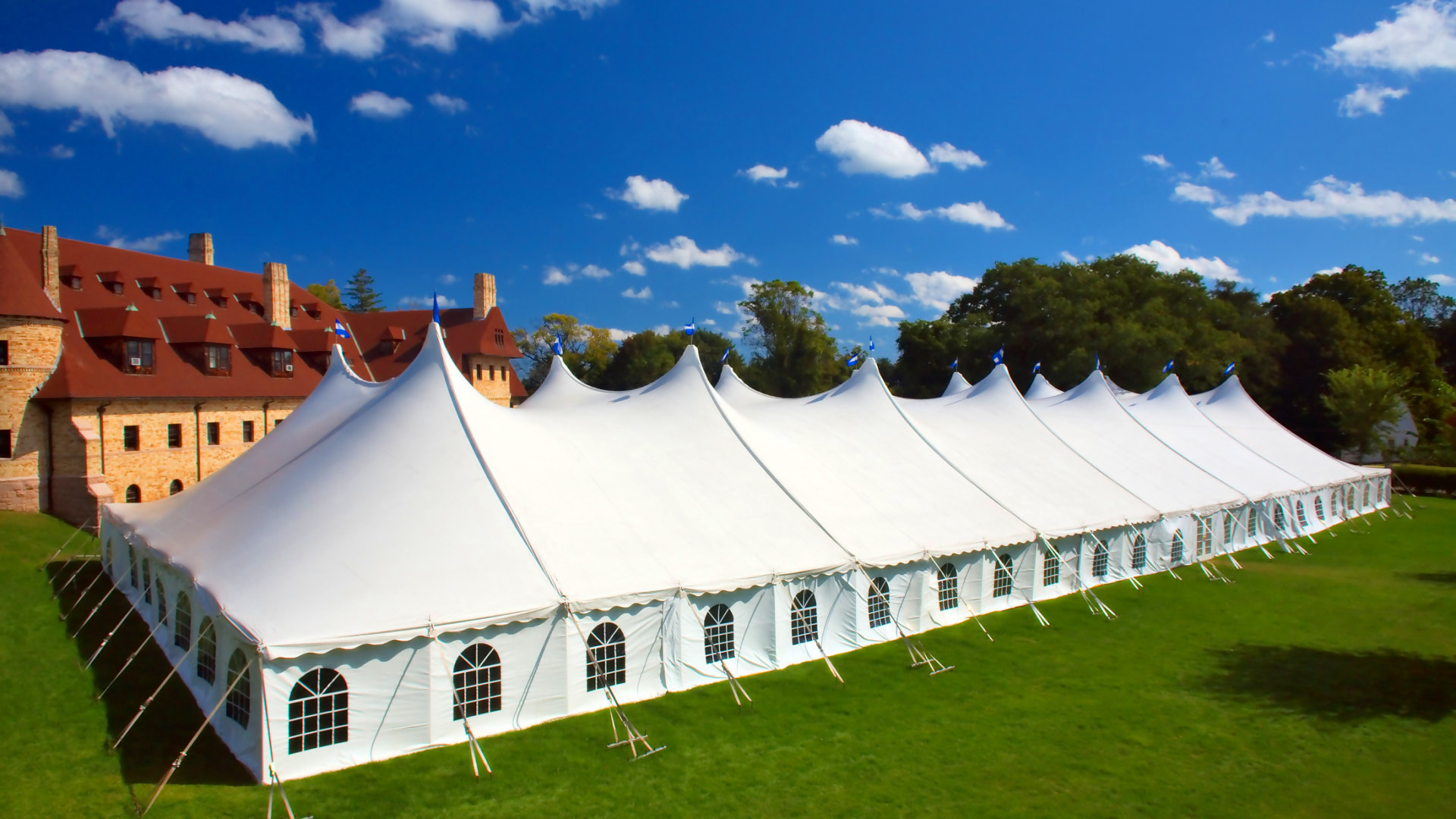 Large white pole tent with Cathedral window sidewalls in Pittsburgh, PA