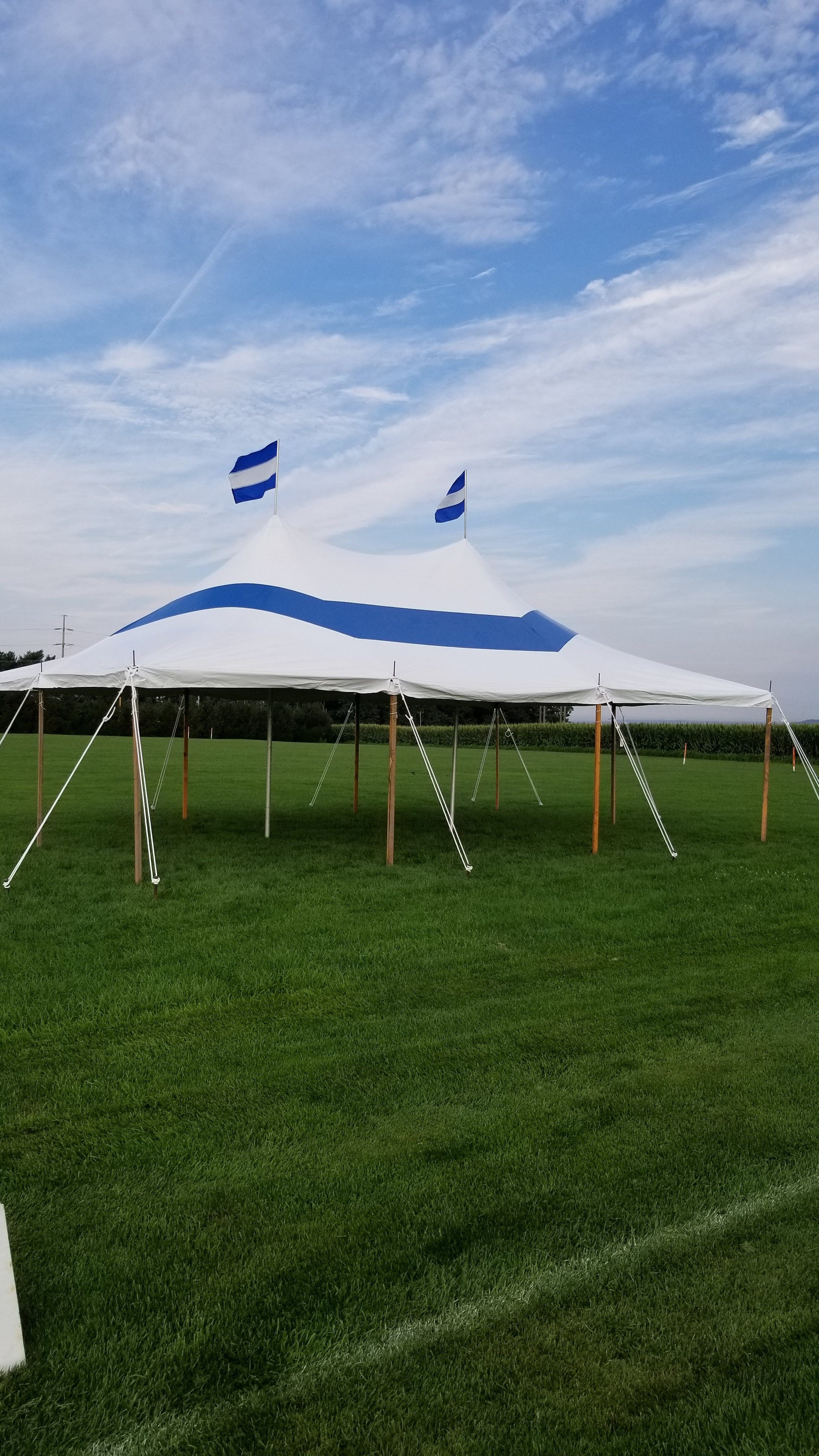 Blue stripe, pole tent for rent in Nazareth, PA