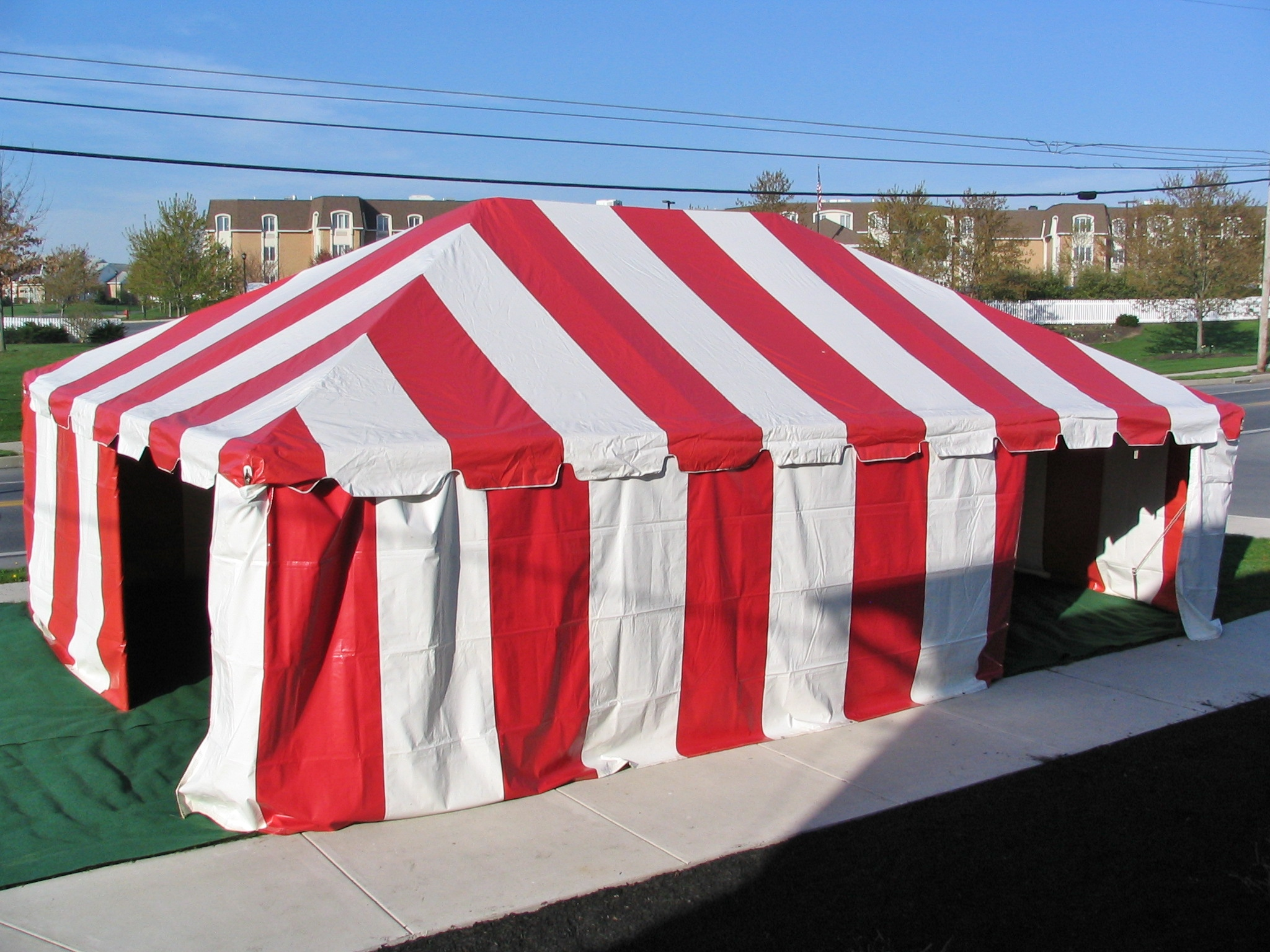 Red striped tent for rent in Lansdale, PA