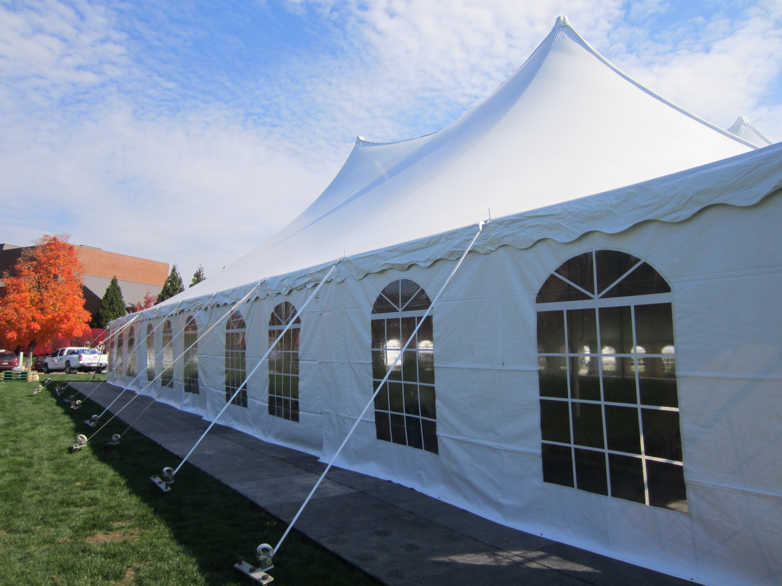 Large tent for rent with Cathedral Window side walls in Quakertown, PA