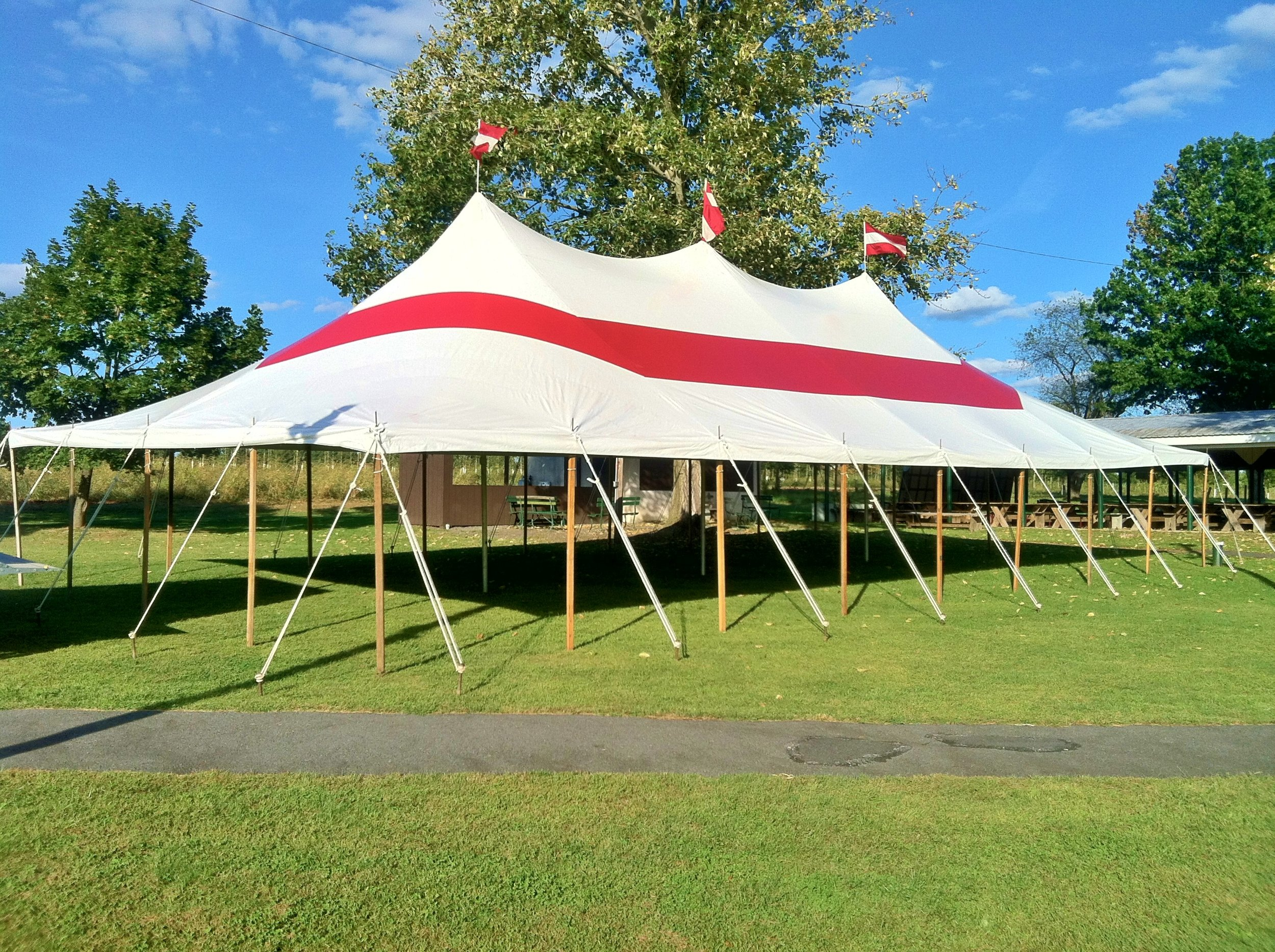 Red party tent for rent in Bangor, PA