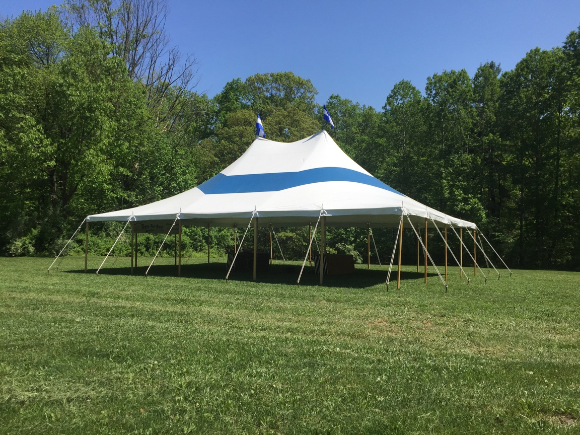 Blue strip party tent for rent in Hamburg, PA