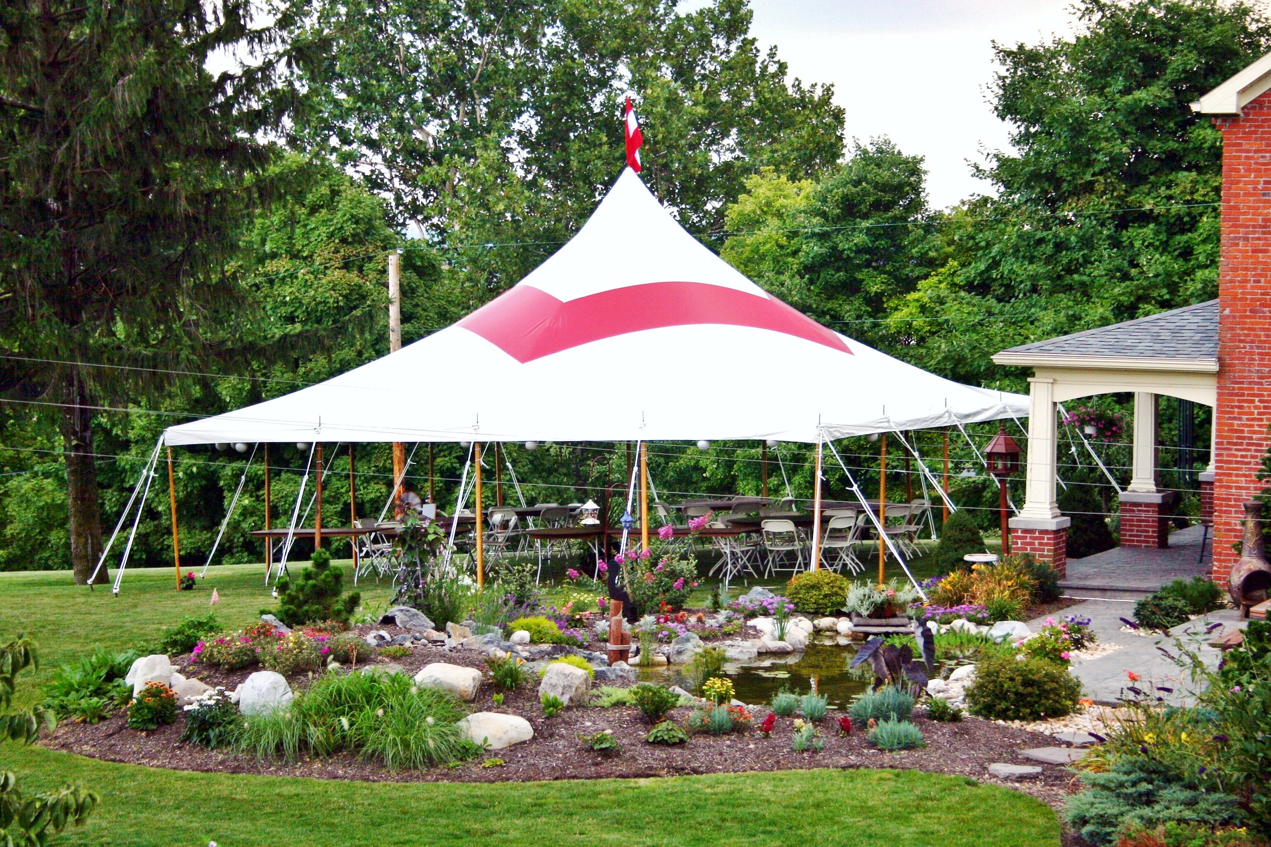Red party tent for rent in Pine Grove, PA