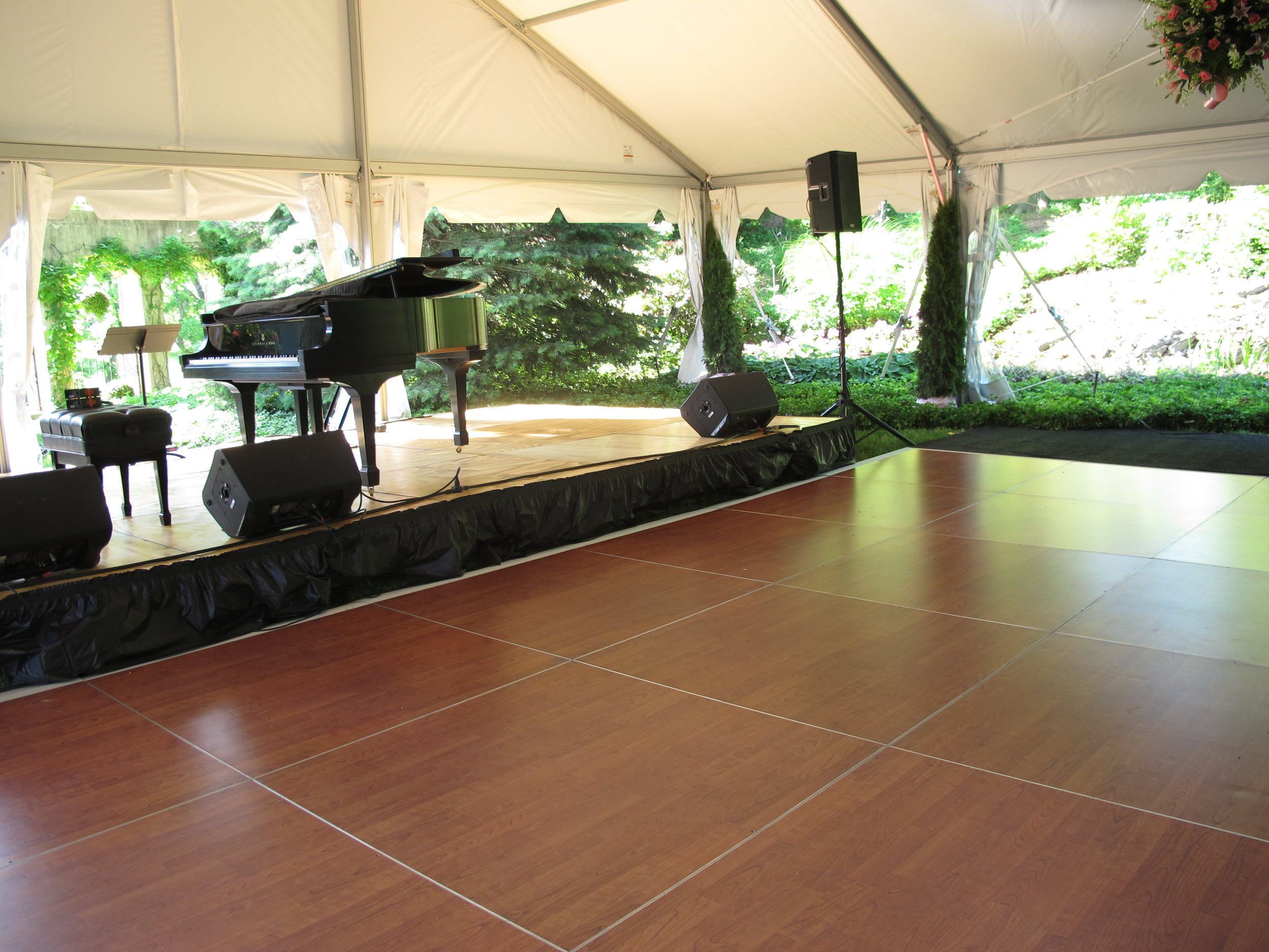 Gorgeous cherry dance floor and stage for rent in Hanover, PA