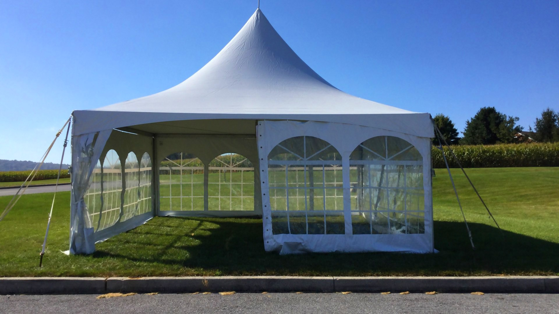 Beautiful white frame tent for rent in Montgomery Co, MD