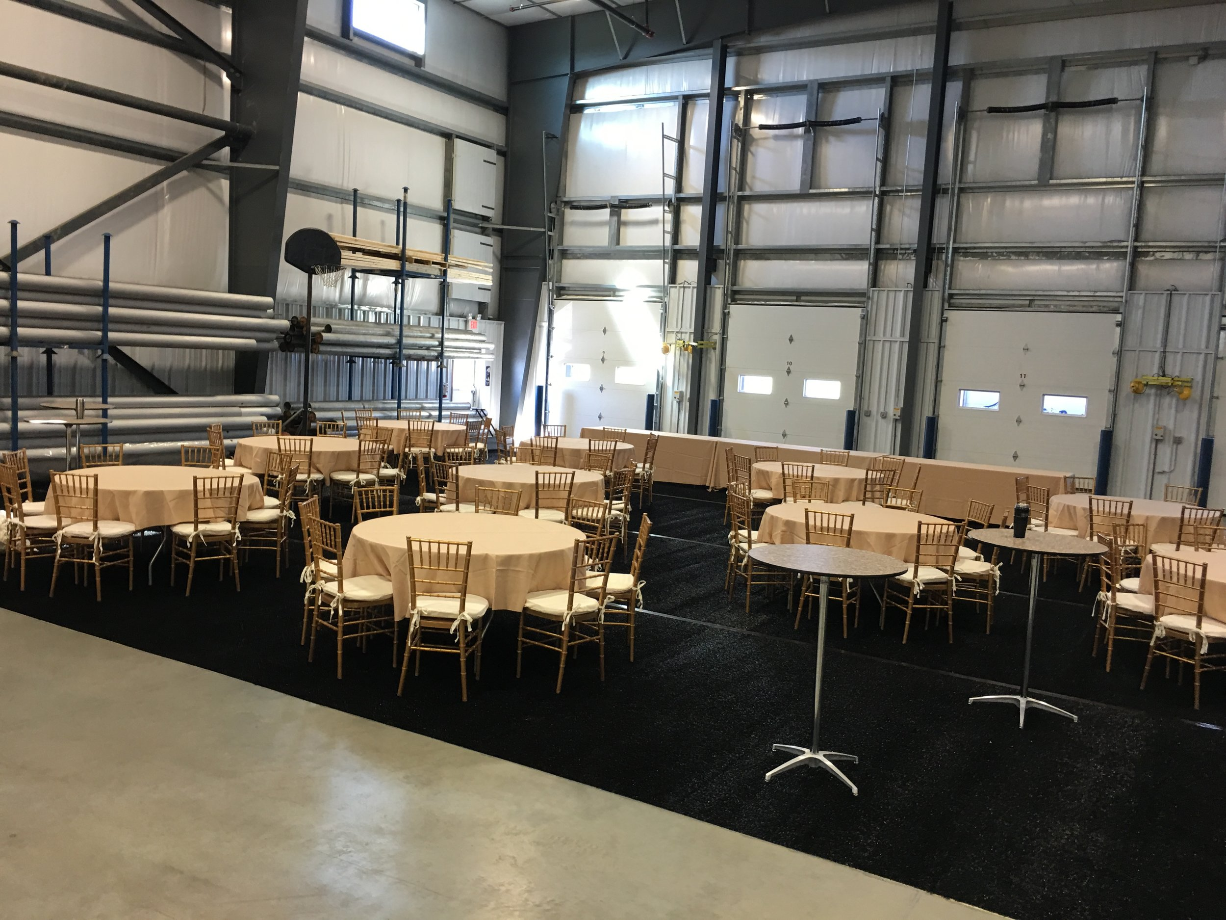 Cocktail tables, round tables, buffet tables, linens and ballroom chairs for your tent event