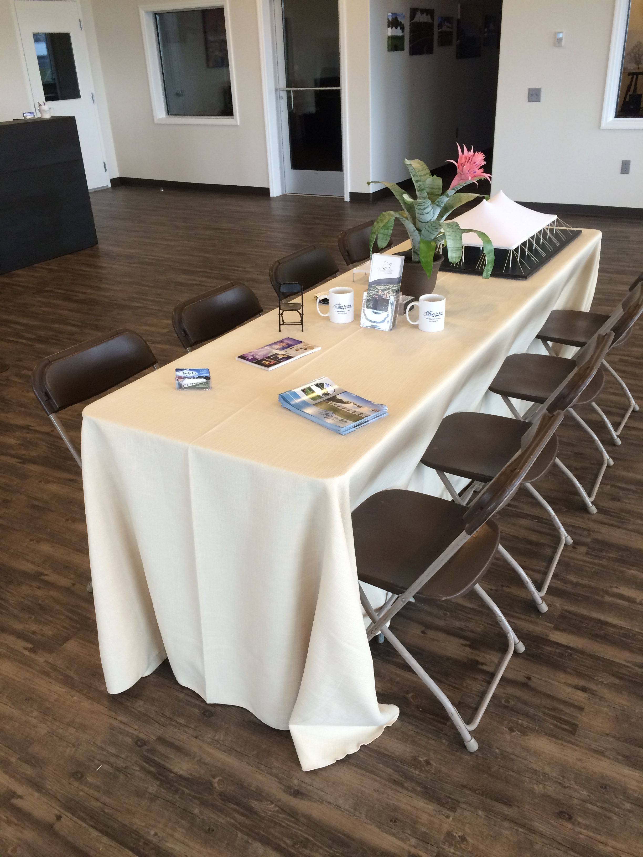 Simple but nice, tables, chairs and linens for your tent or outdoor event.