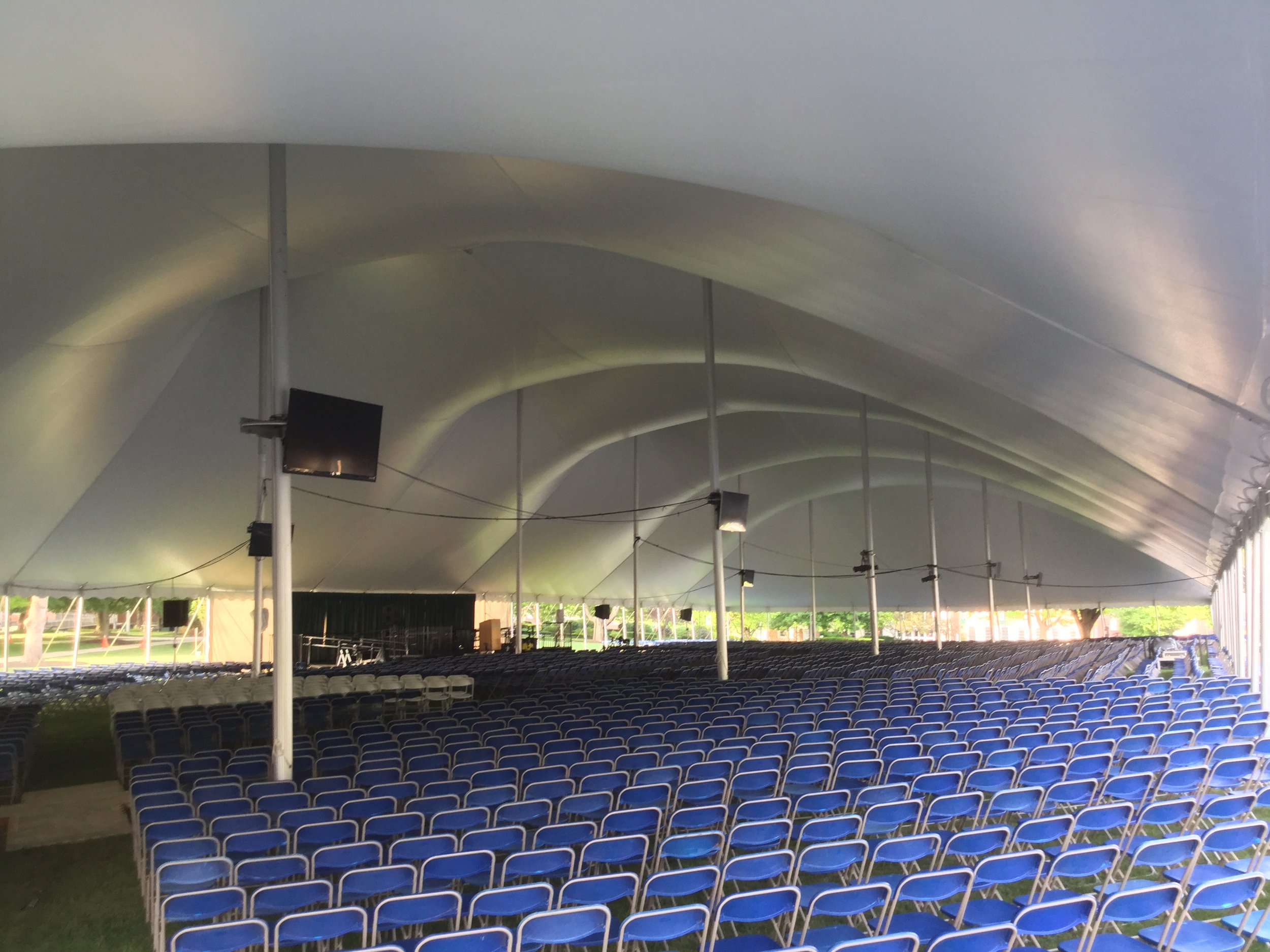 University graduation tent and seating