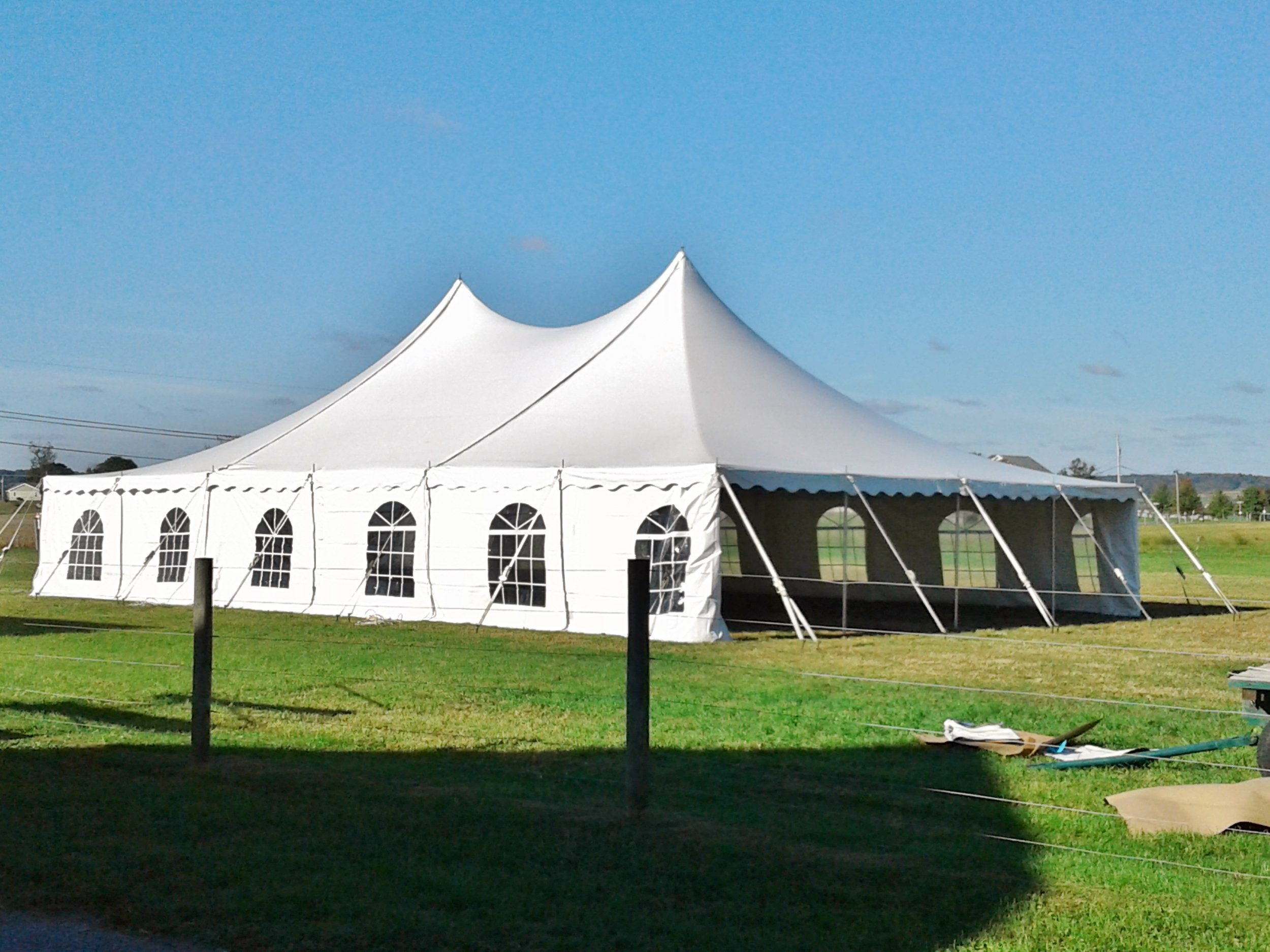 Large white tent with cathedral window sidewalls for rent in Scranton, PA