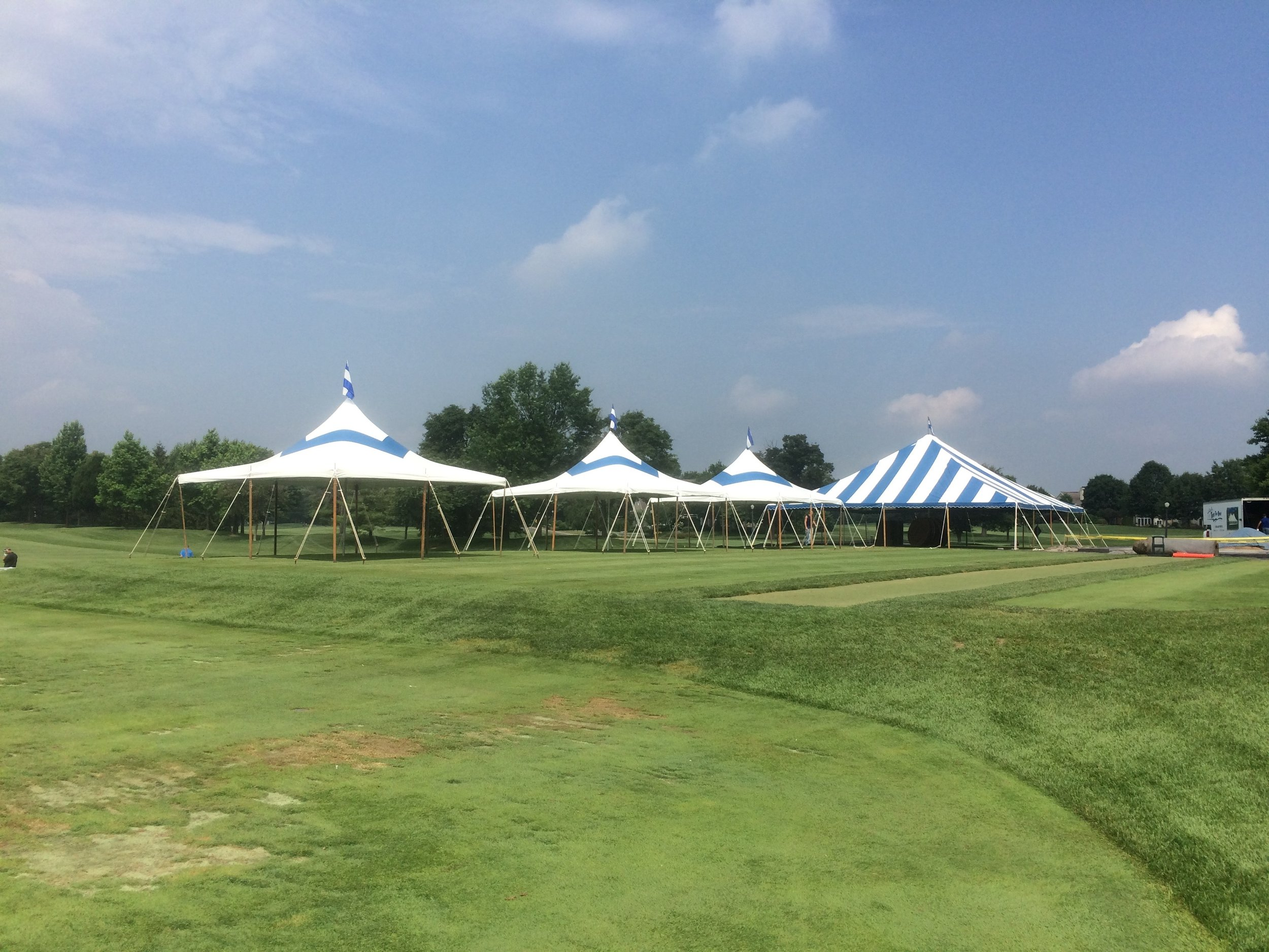 Nice blue strip party tents for rent in Scranton, PA