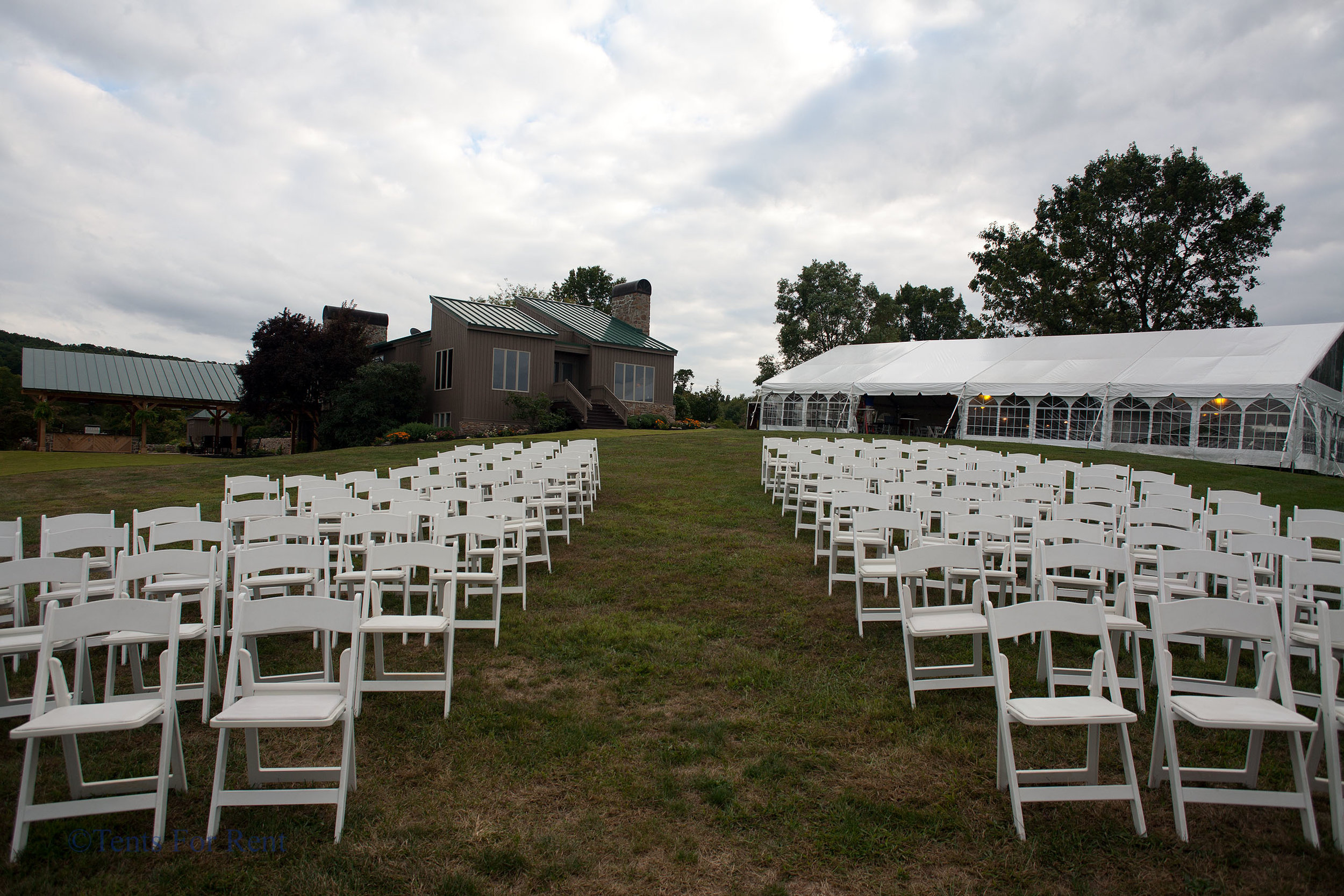 Comfortable white padded folding garden chairs for rent in Gettysburg, PA