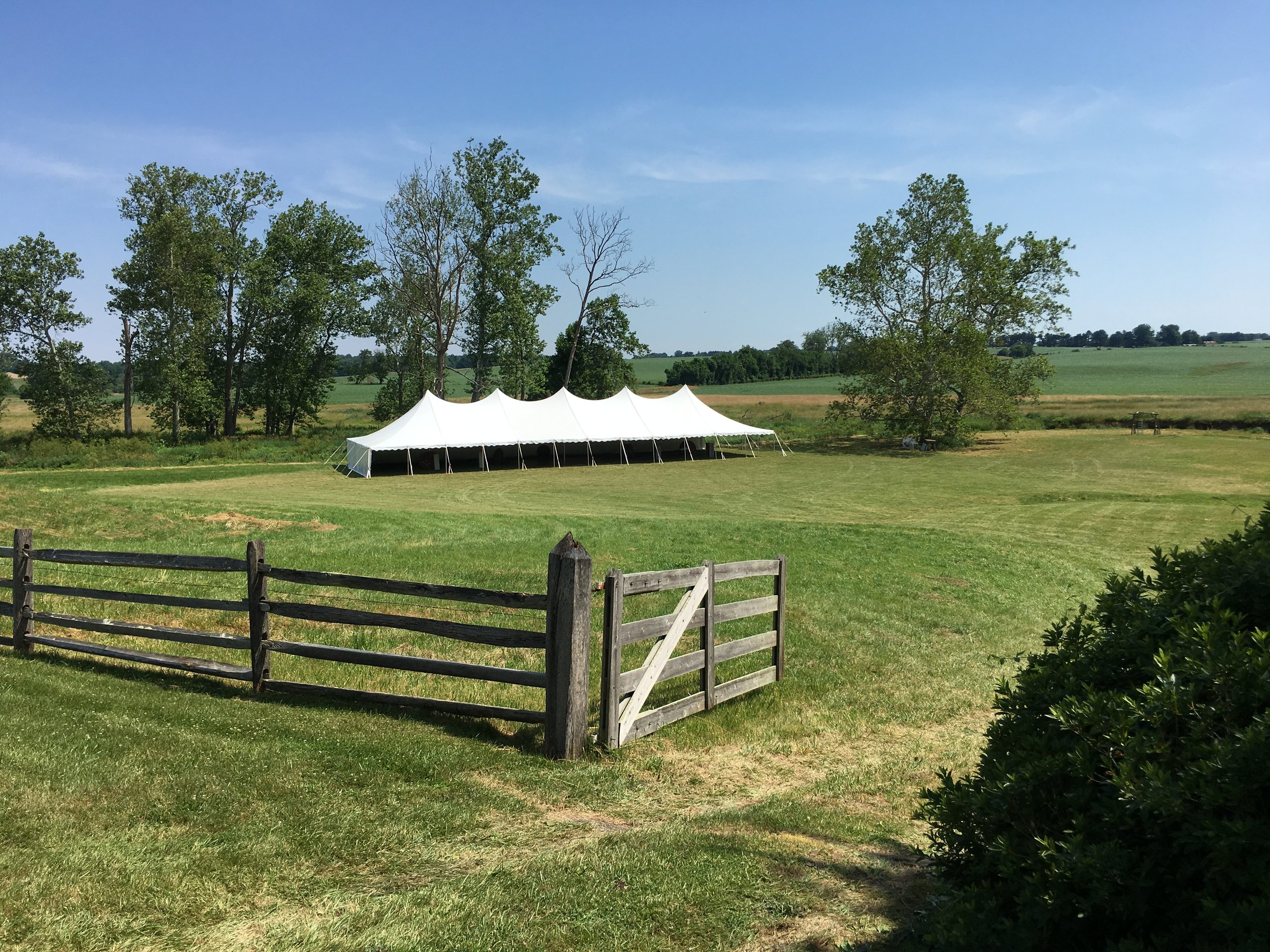 Spacious white pole tent for rent in Elizabethtown, PA