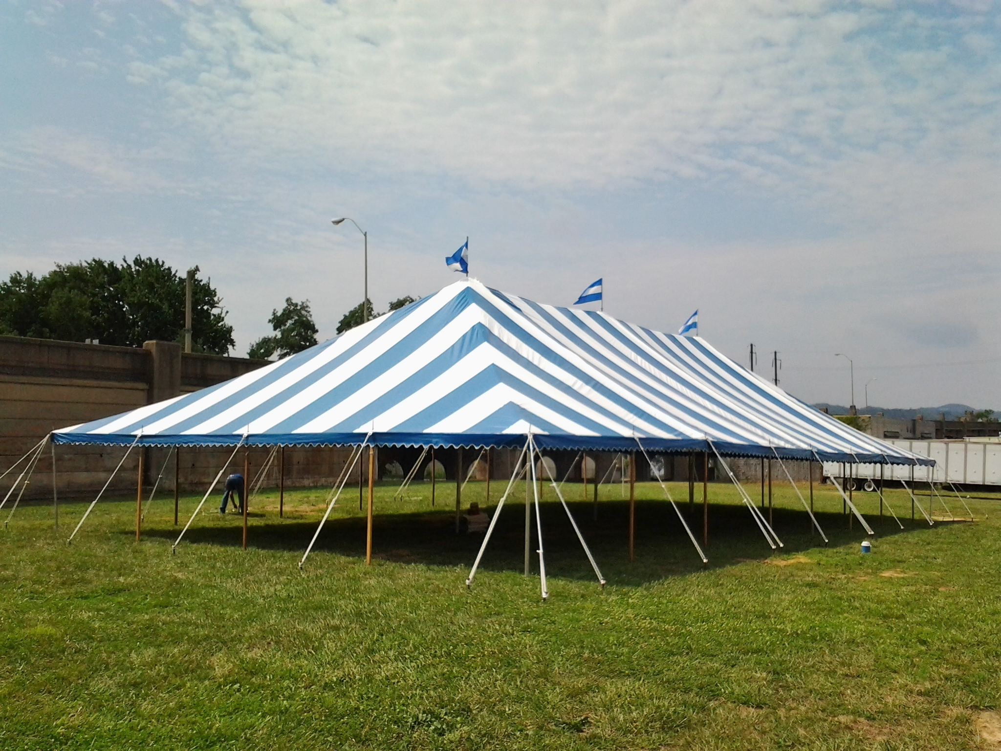 Nice blue stripe party tent for rent in Coatesville, PA
