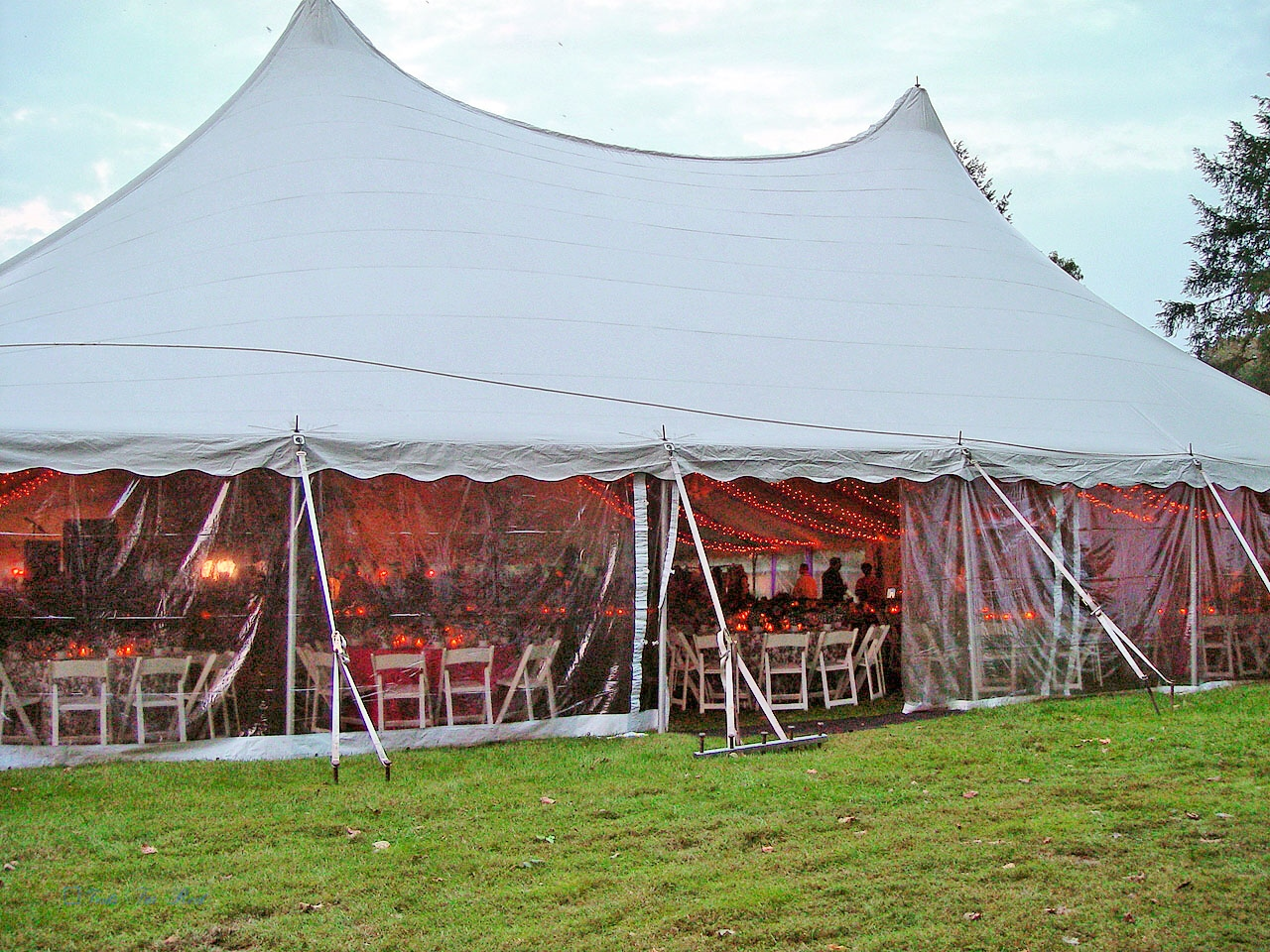 Large white tent with clear sidewalls for rent in Chambersburg, PA