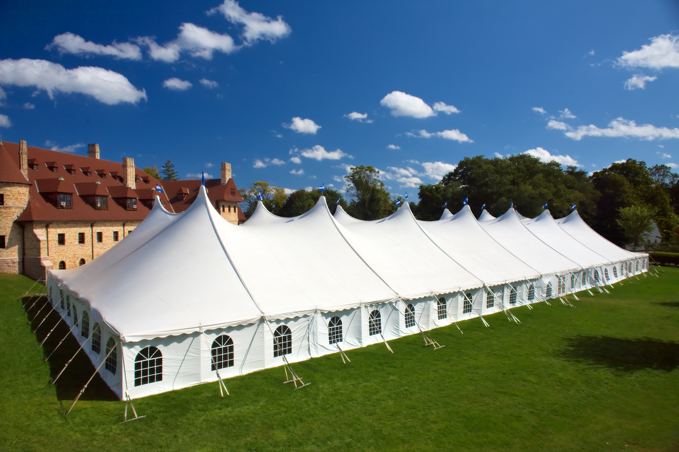 Large white tent with cathedral window sidewalls for rent in Cherry Hill, NJ
